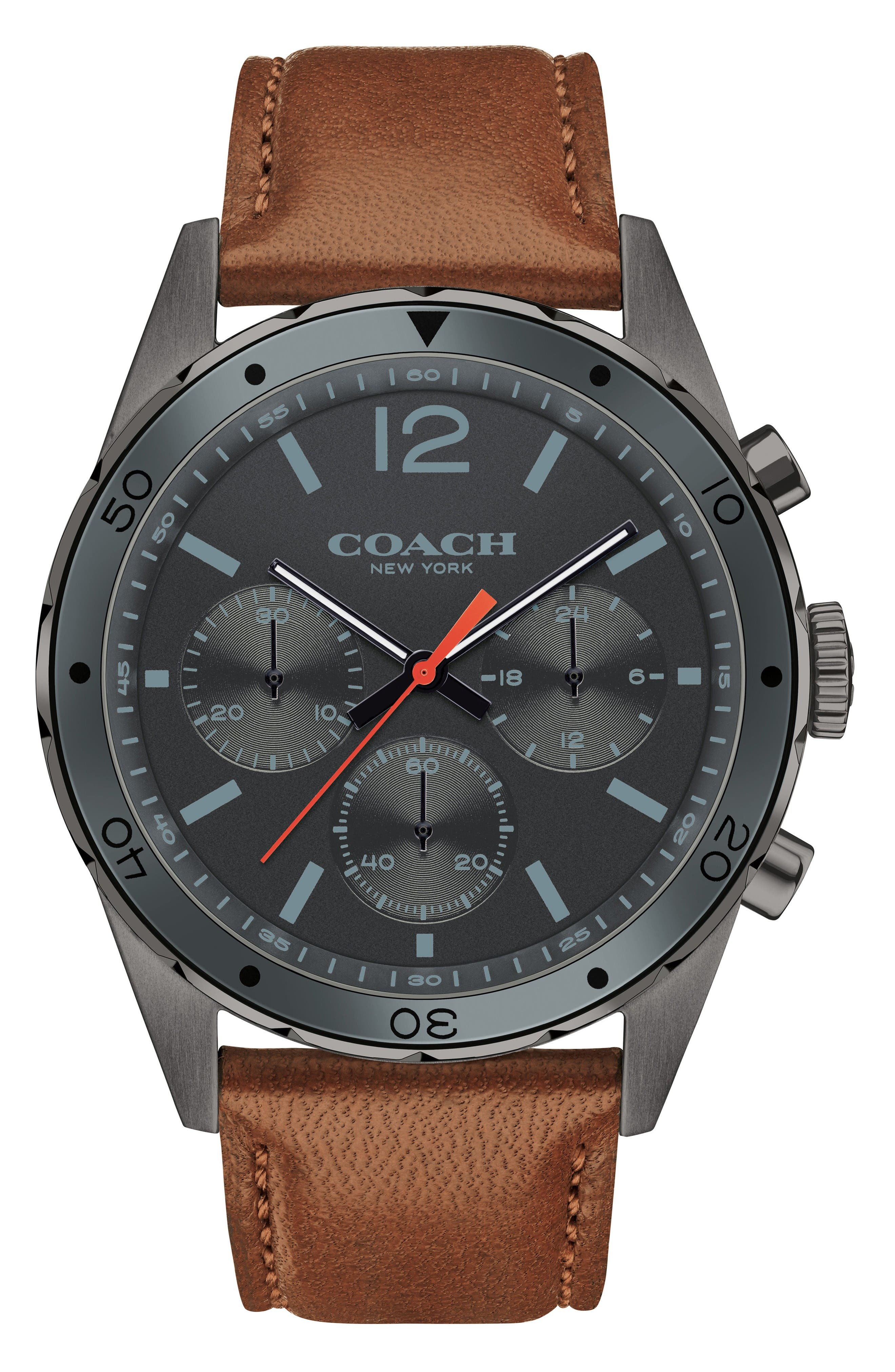 Sullivan Sport Chronograph Leather Strap Watch, 44mm,                             Main thumbnail 1, color,                             Brown/ Grey