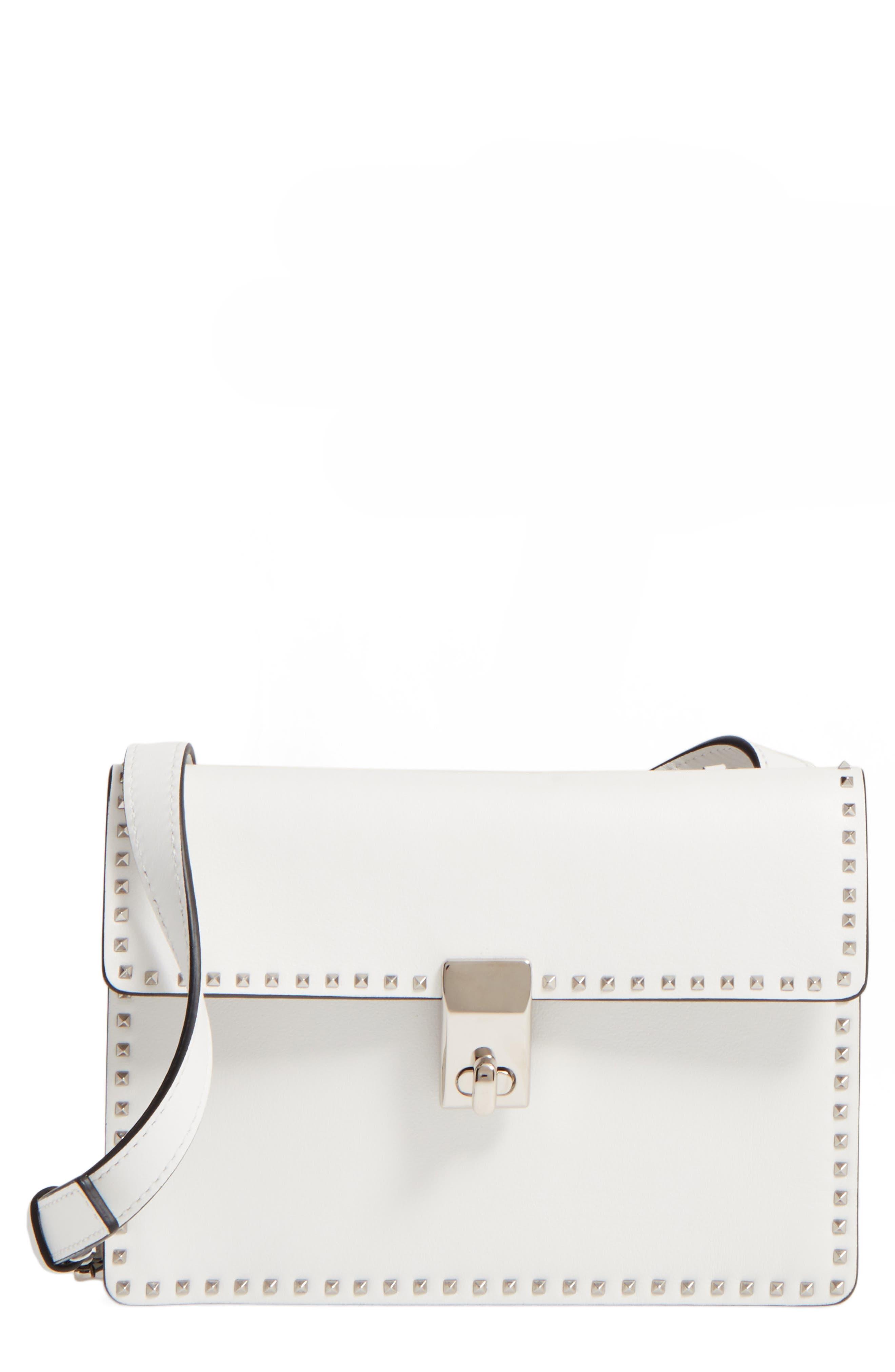 Small Rockstud Leather Shoulder Bag,                             Main thumbnail 1, color,                             Bianco