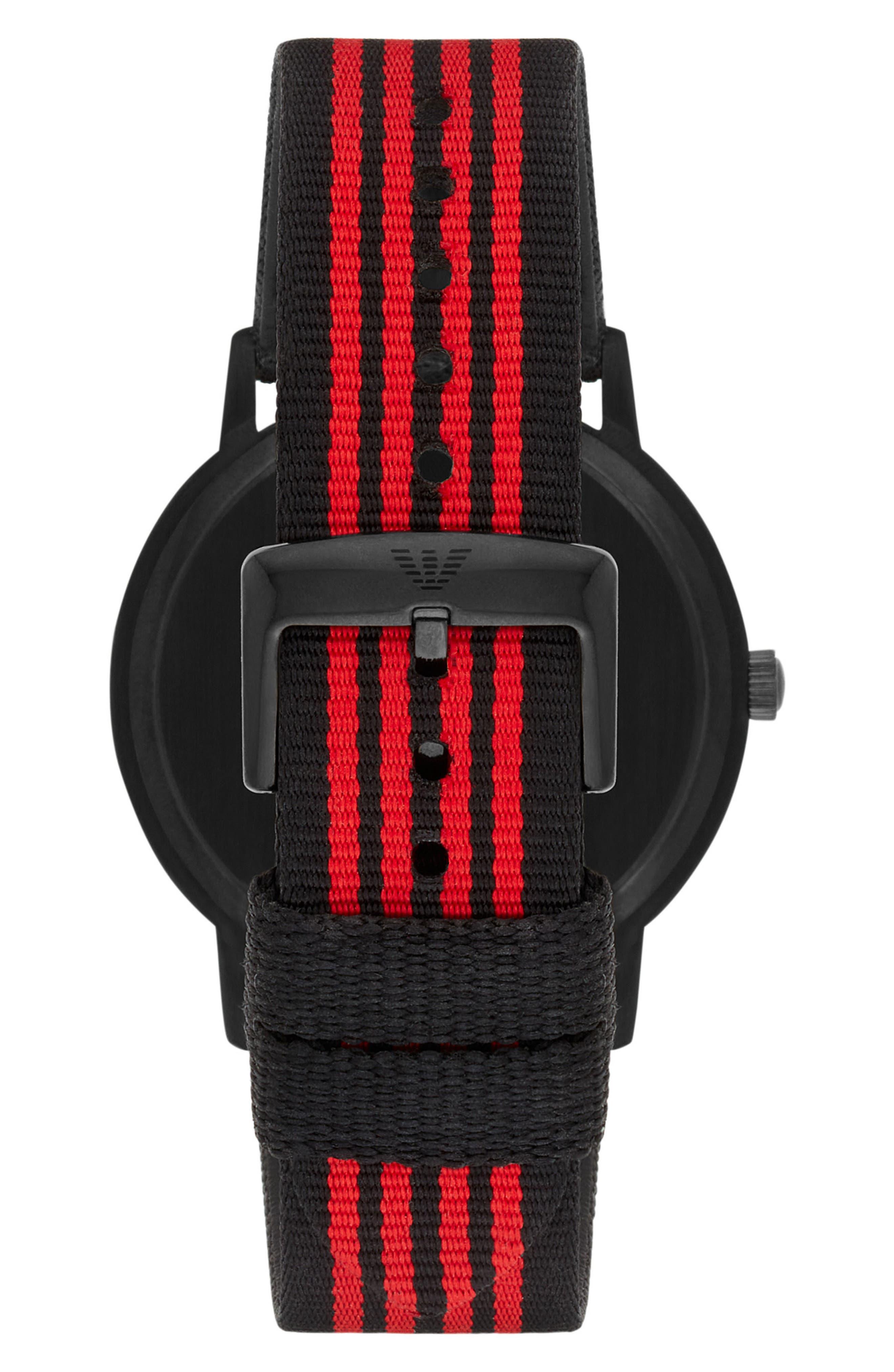 Alternate Image 2  - Emporio Armani NATO Stripe Strap Watch, 43mm