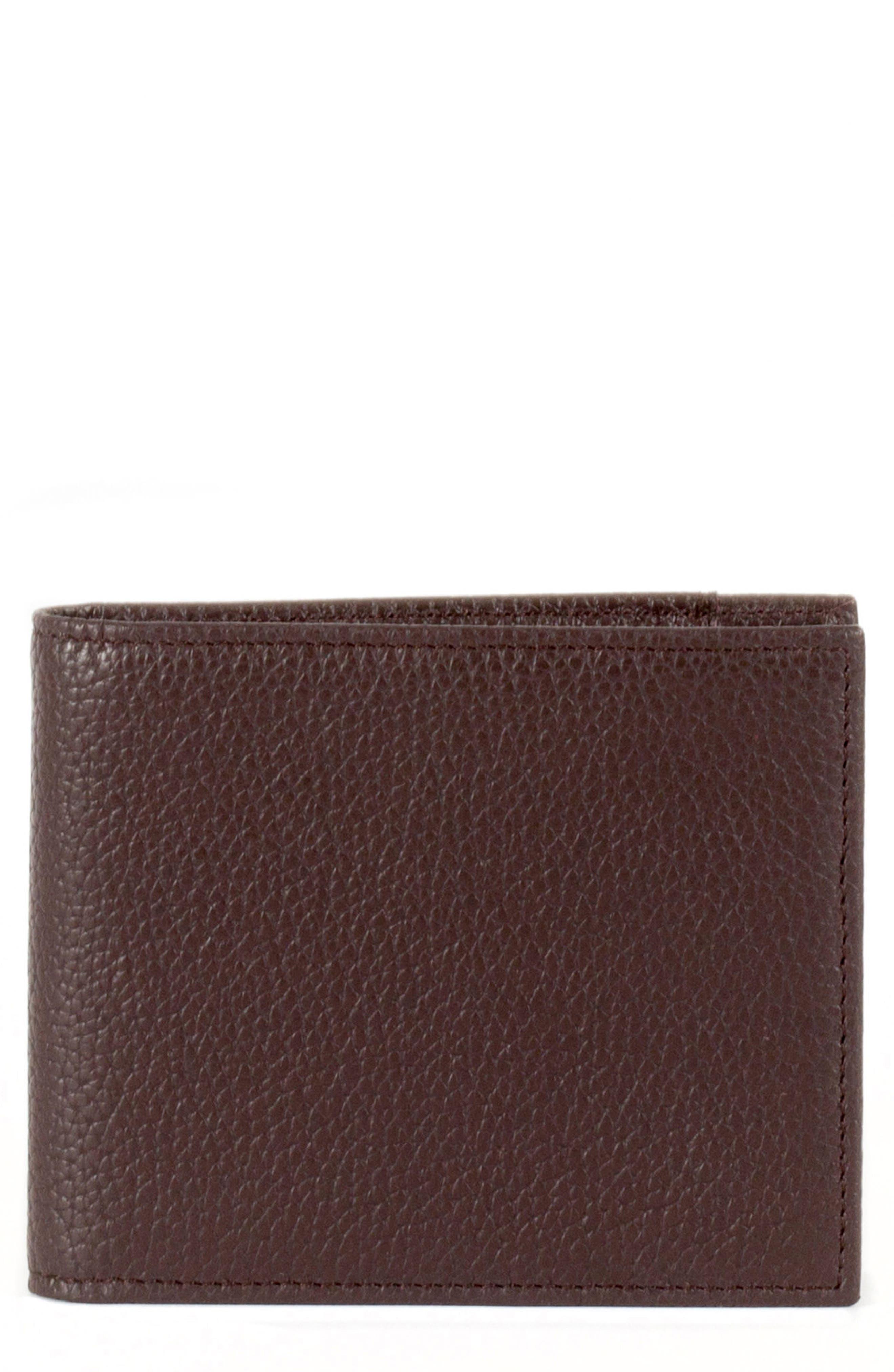 Garth Leather Bifold Wallet,                             Main thumbnail 1, color,                             Brown/ Tan/ Purple