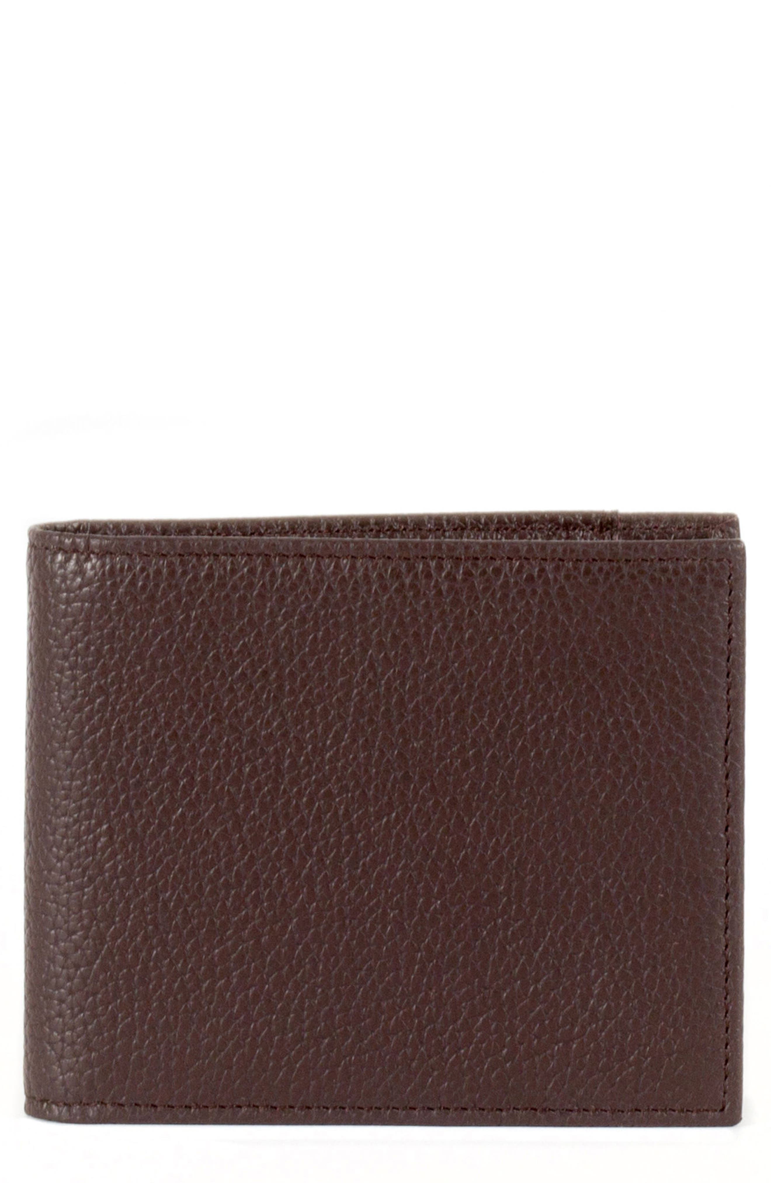 Garth Leather Bifold Wallet,                         Main,                         color, Brown/ Tan/ Purple