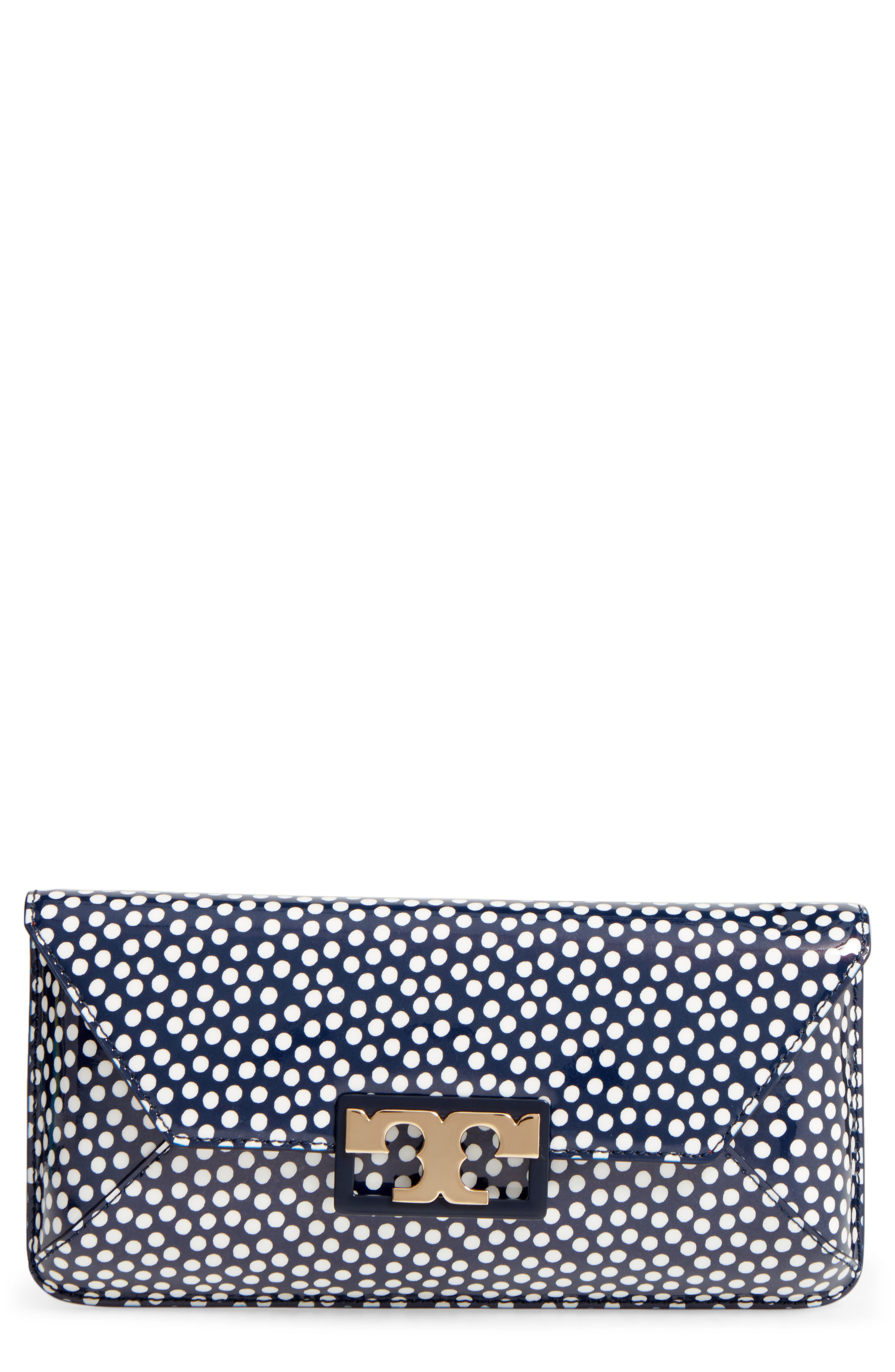 Gigi Print Leather Clutch,                         Main,                         color, Nautical Dots Small