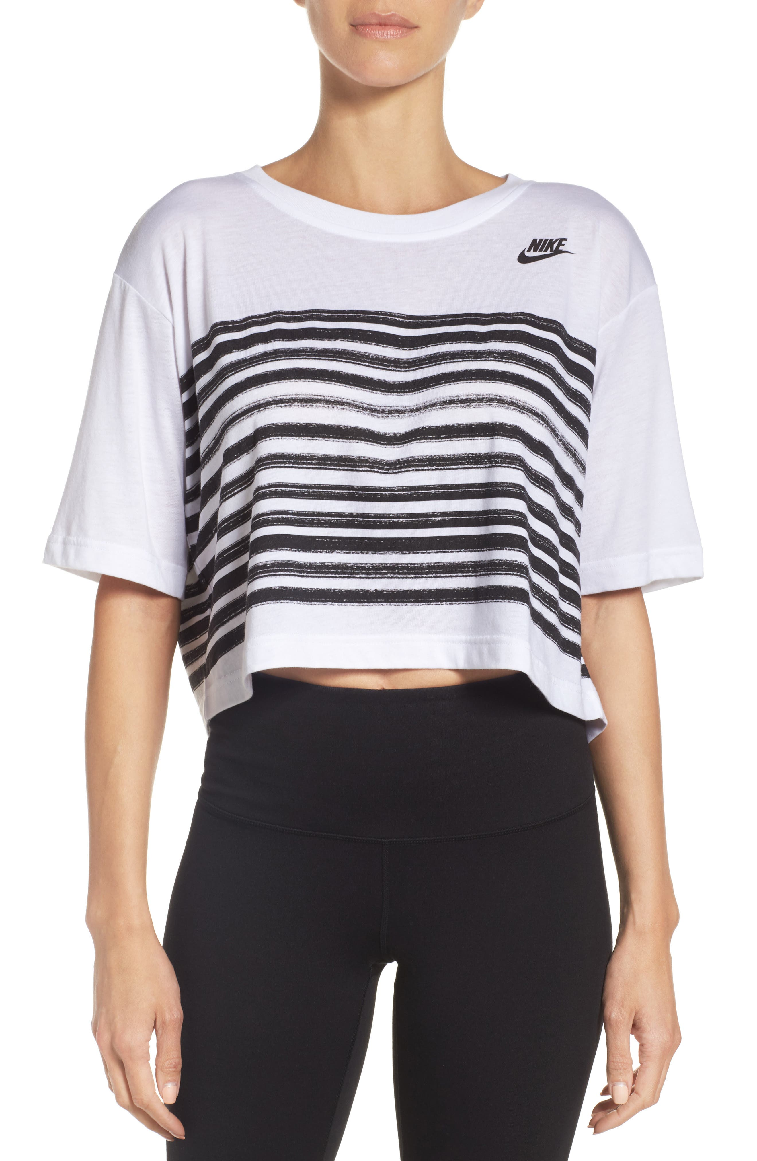 Sportswear Crop Tee,                             Main thumbnail 1, color,                             White/ Black