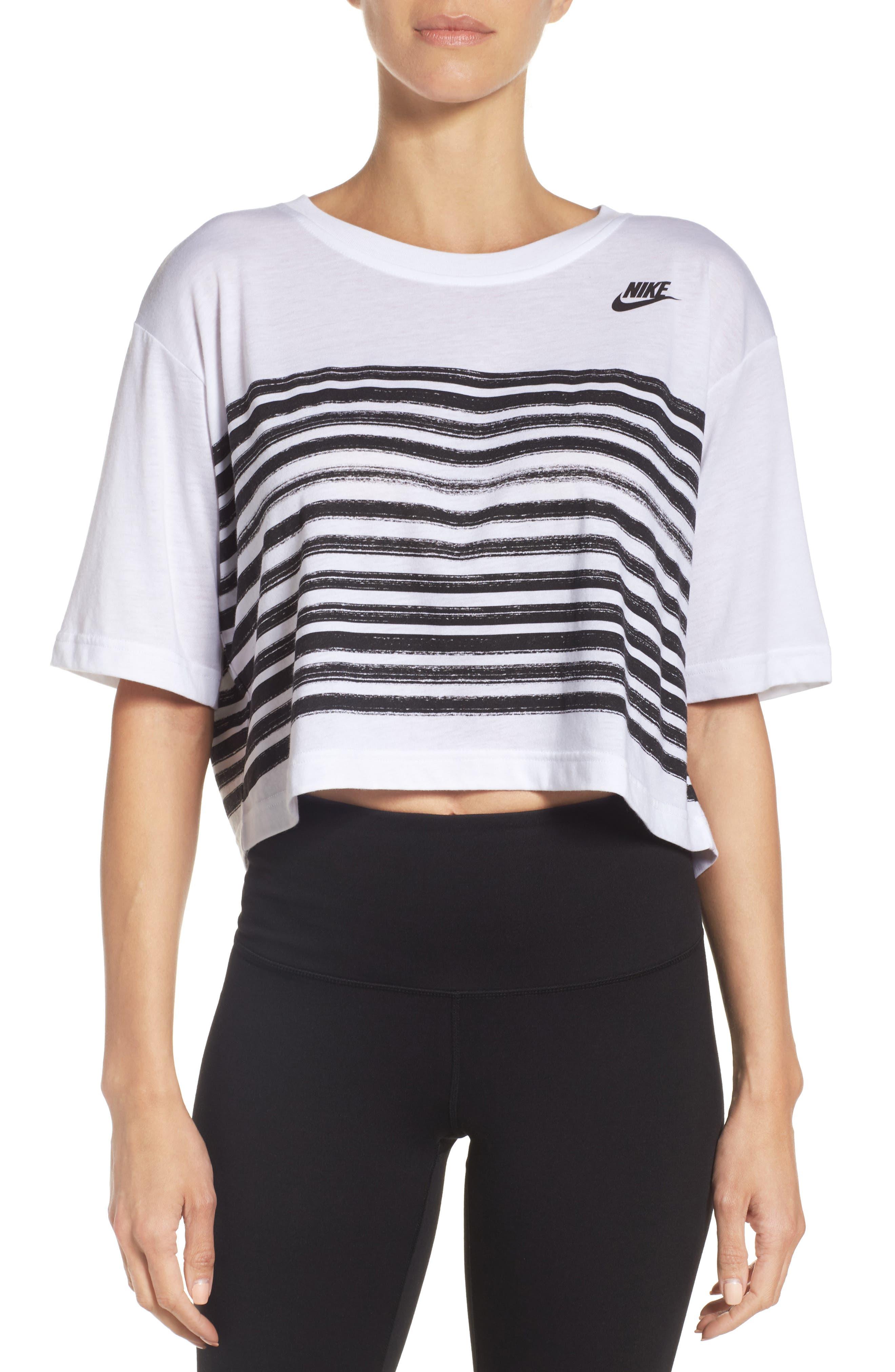 Sportswear Crop Tee,                         Main,                         color, White/ Black