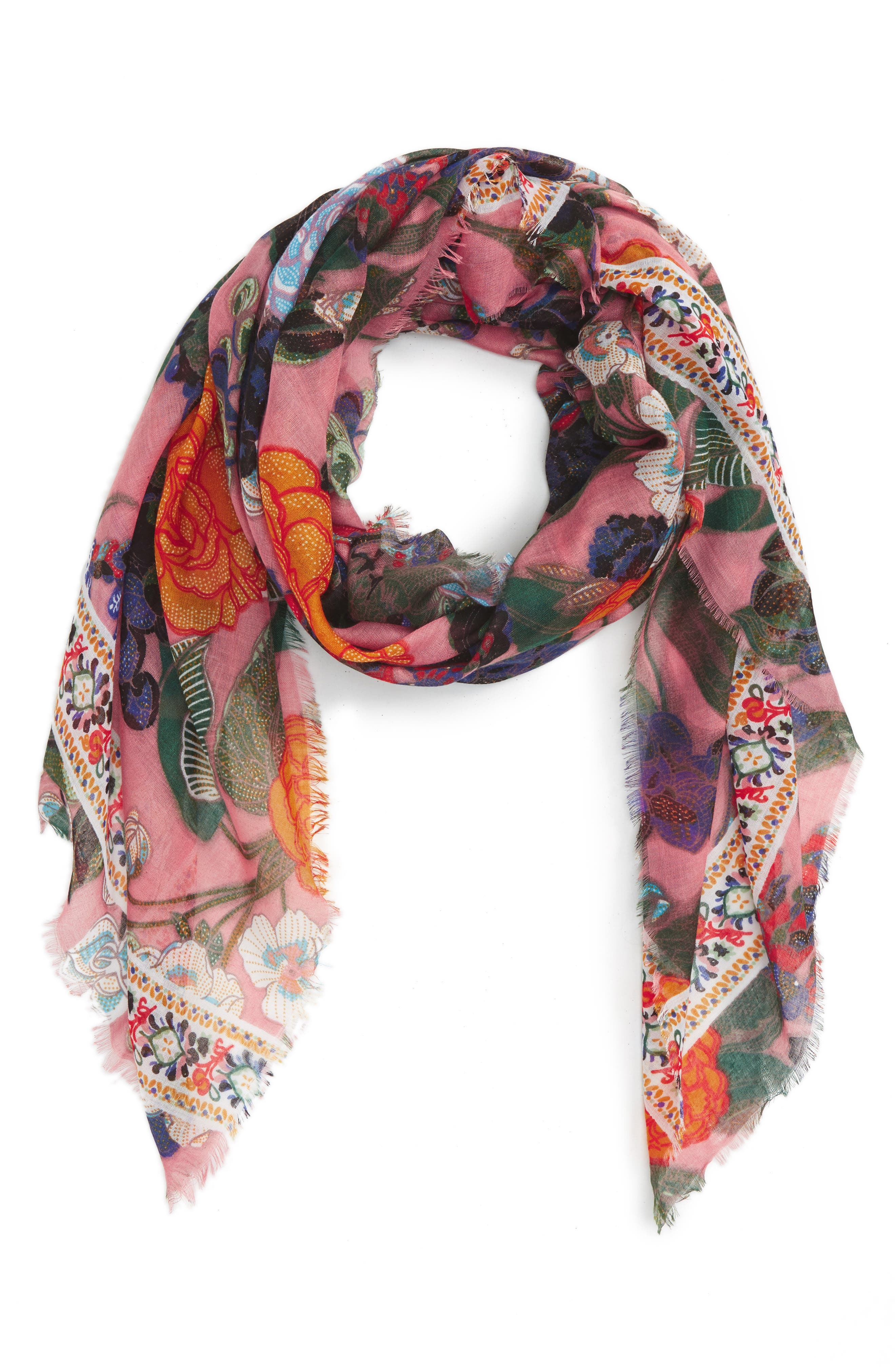 Floral Scarf,                         Main,                         color, Pink Multi