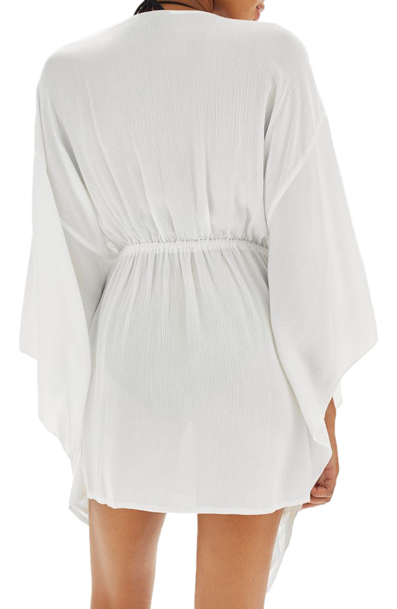 Ladder Stitch Cover-Up Caftan,                             Alternate thumbnail 3, color,                             White