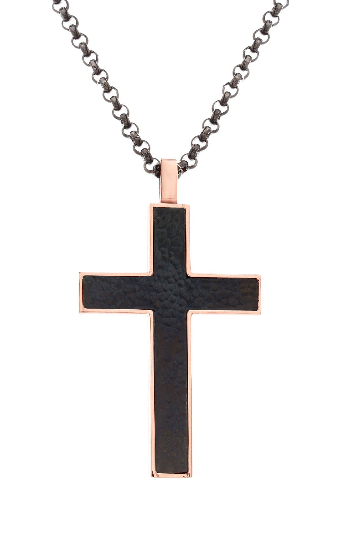 Cross Pendant Necklace,                         Main,                         color, Black/ Gold