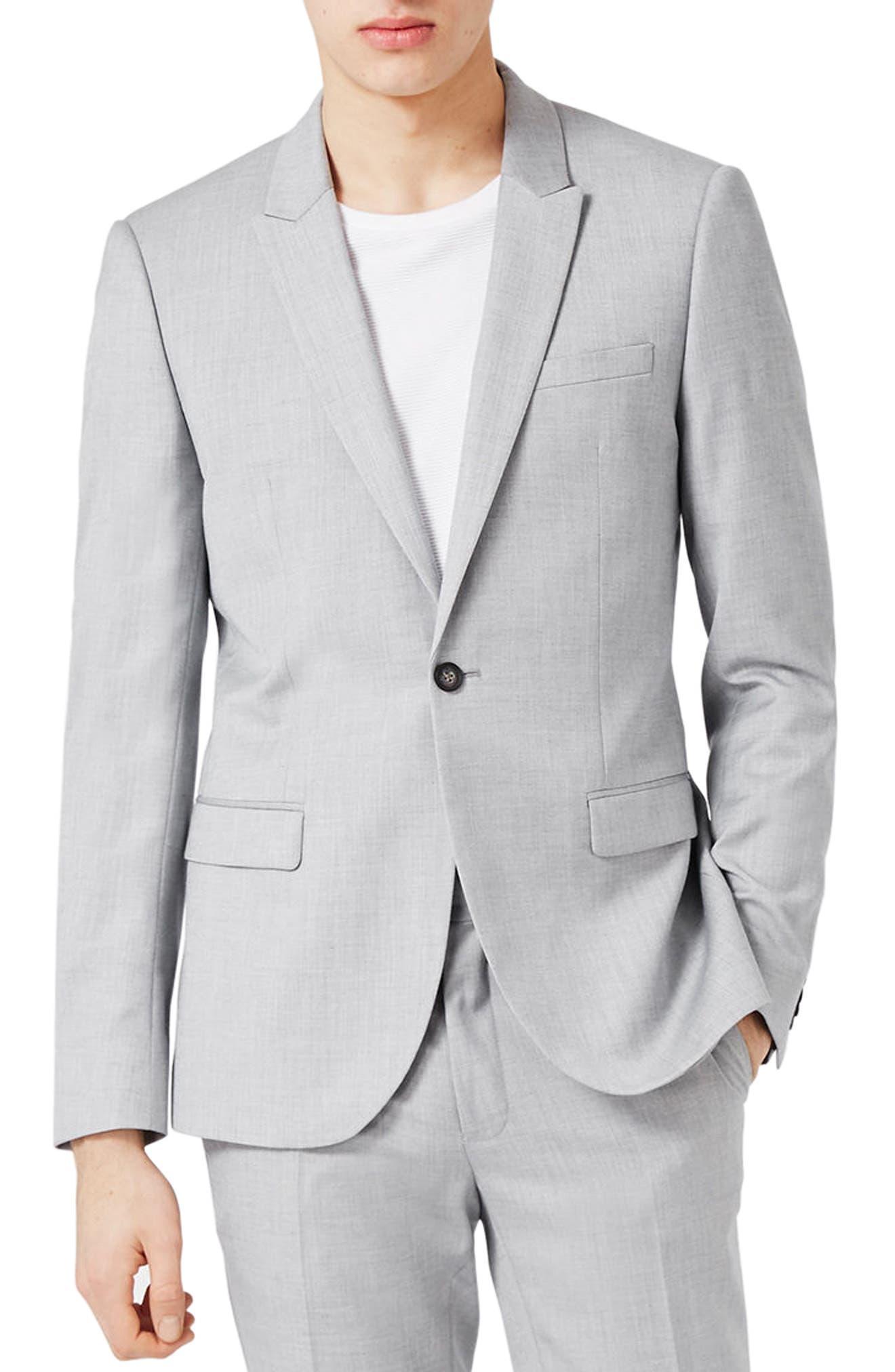 Main Image - Topman Skinny Fit Crosshatch Suit Jacket