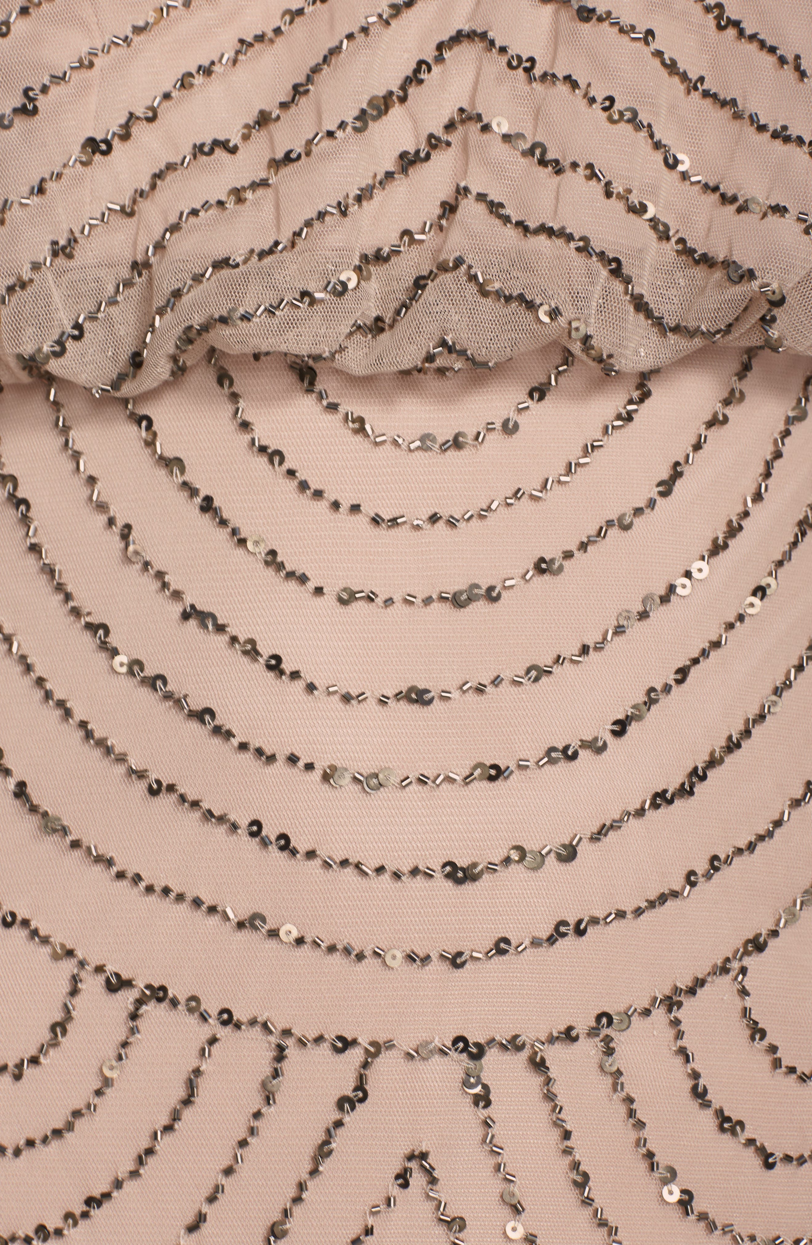 Sequin Mesh Blouson Dress,                             Alternate thumbnail 4, color,                             Taupe/ Pink