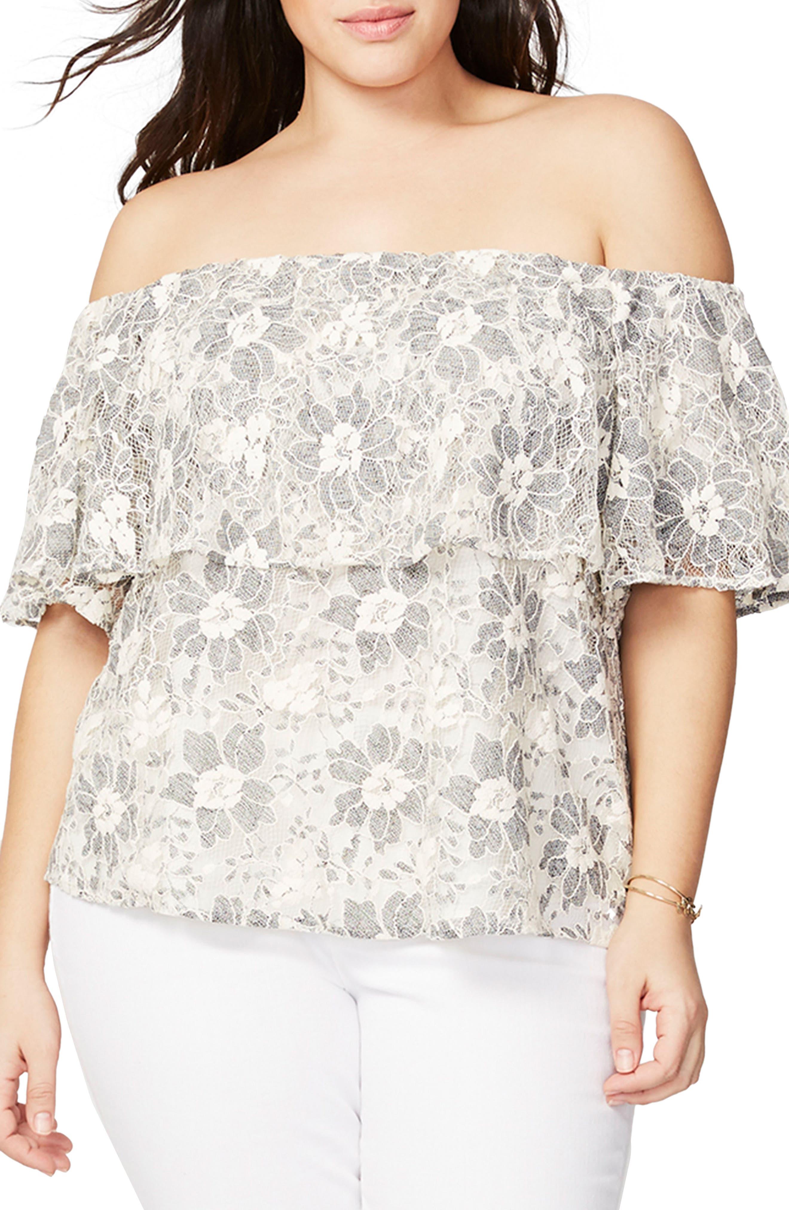 RACHEL Rachel Roy Off the Shoulder Lace Top (Plus Size)