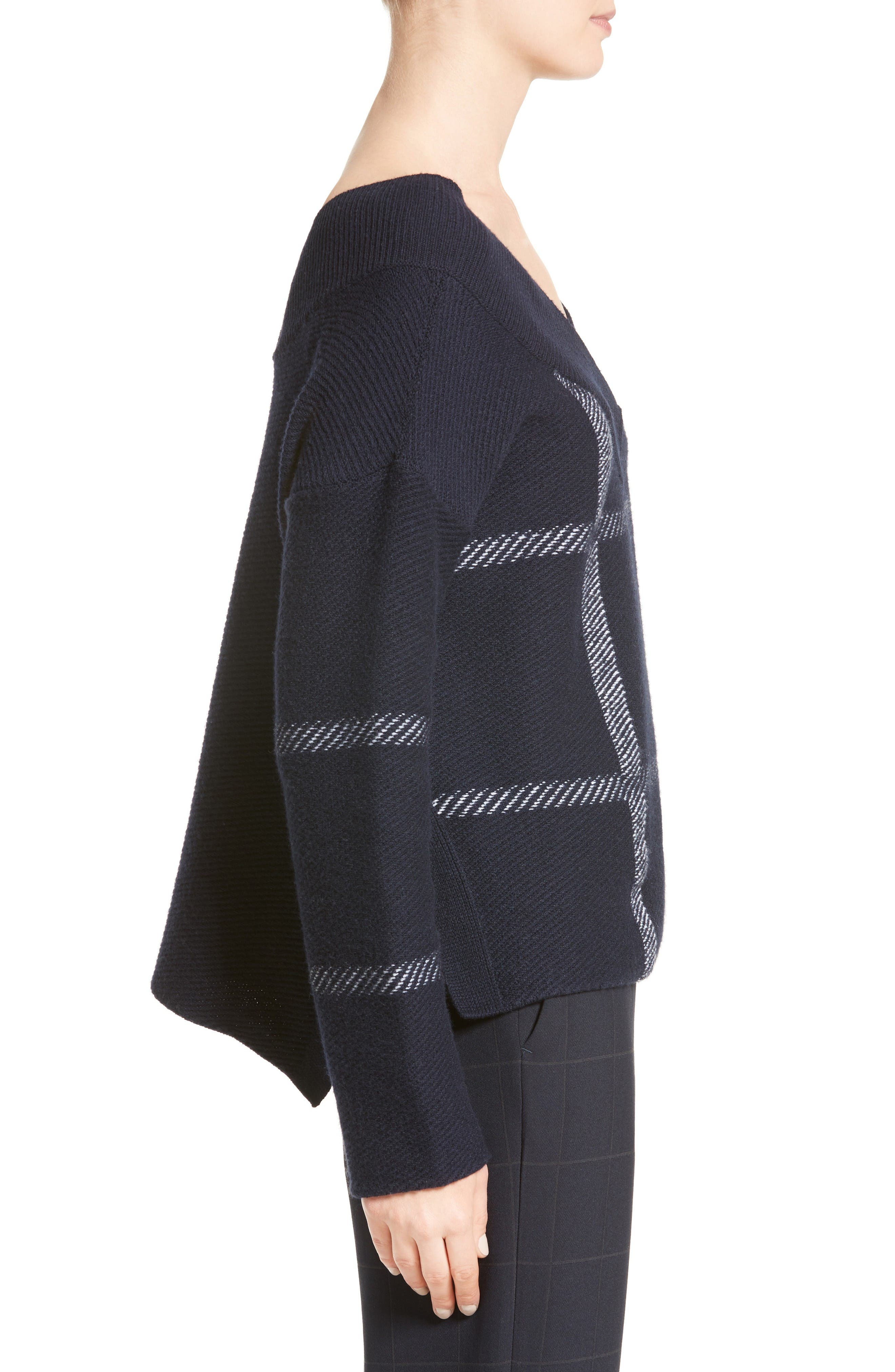 Windowpane Wool & Cashmere Sweater,                             Alternate thumbnail 5, color,                             Navy Multi