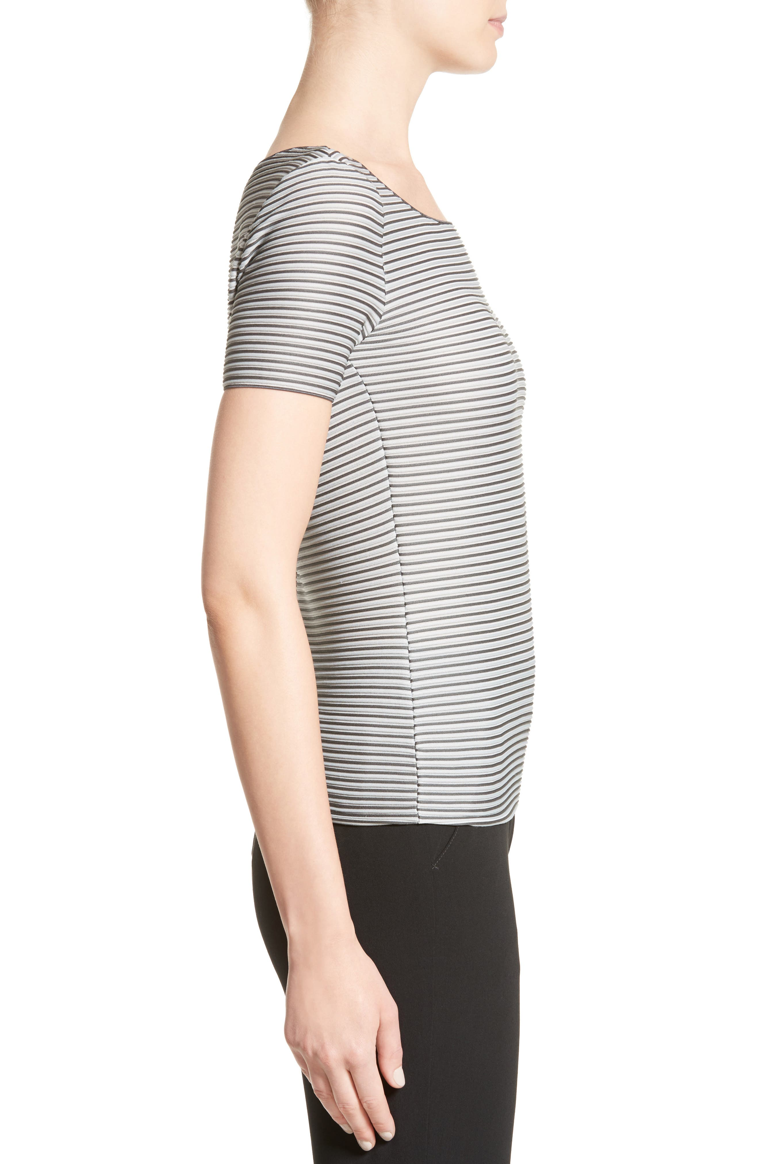 Striped Piped Jersey Tee,                             Alternate thumbnail 5, color,                             Grey Multi