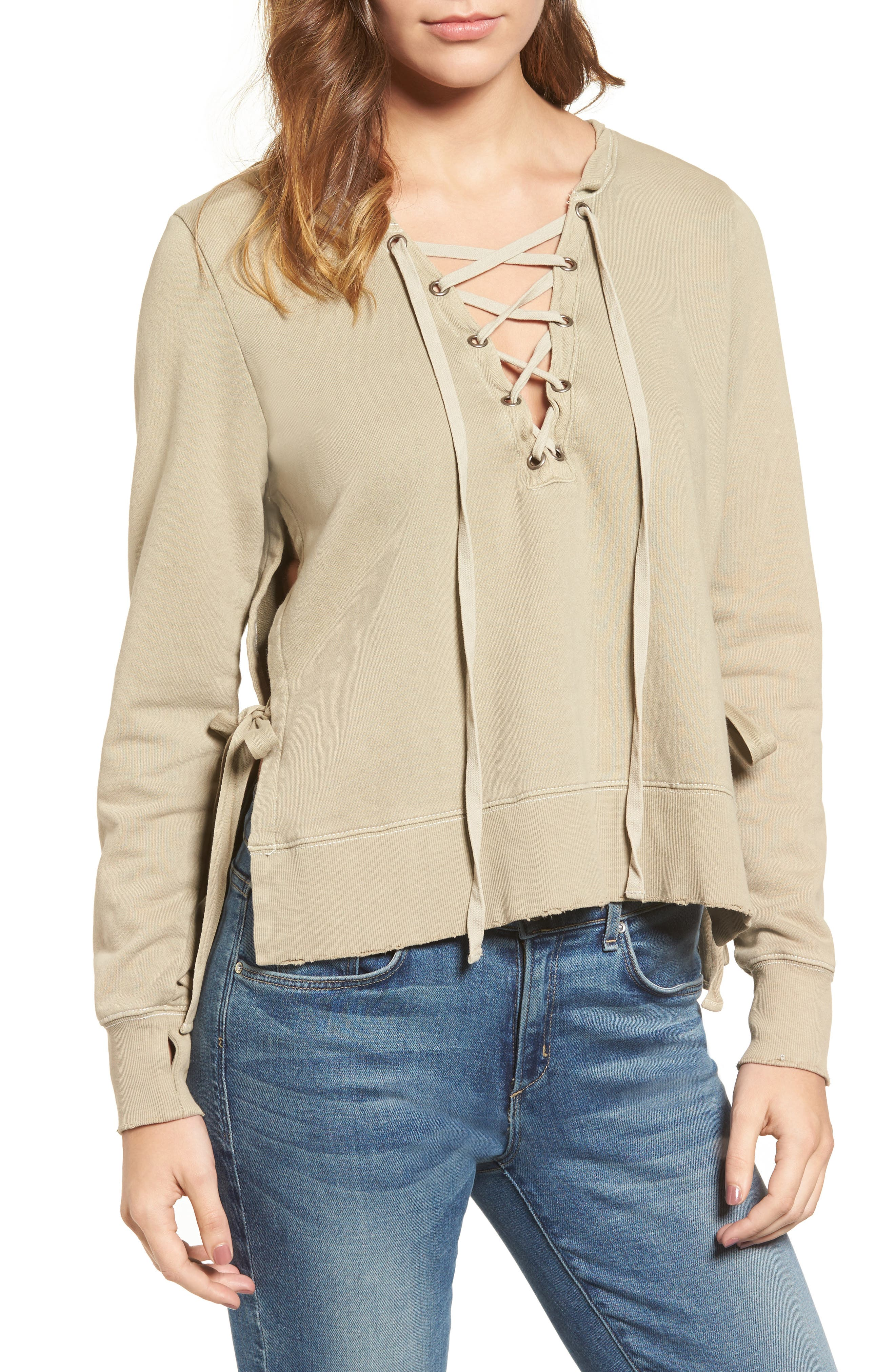 Pam & Gela Lace-Up Sweatshirt
