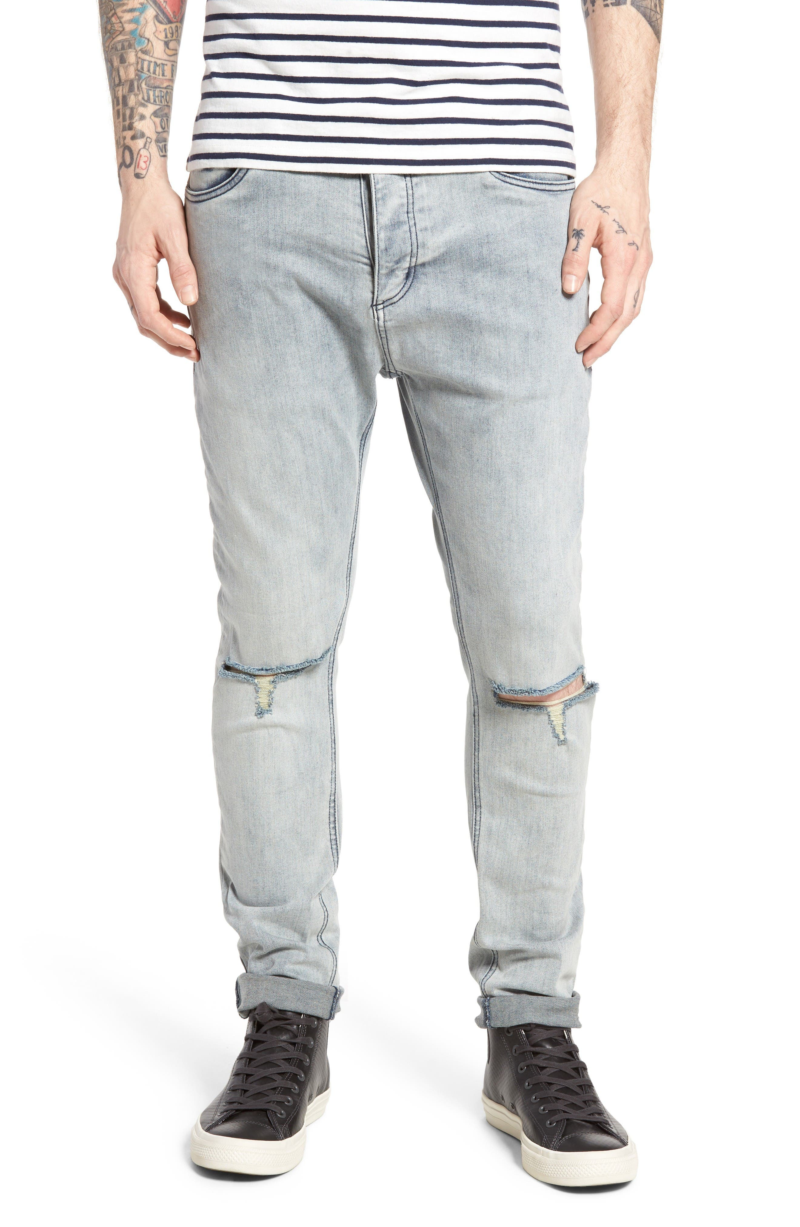 Alternate Image 1 Selected - ZANEROBE Joe Blow Destroyed Denim Jeans (Smooth Blue)