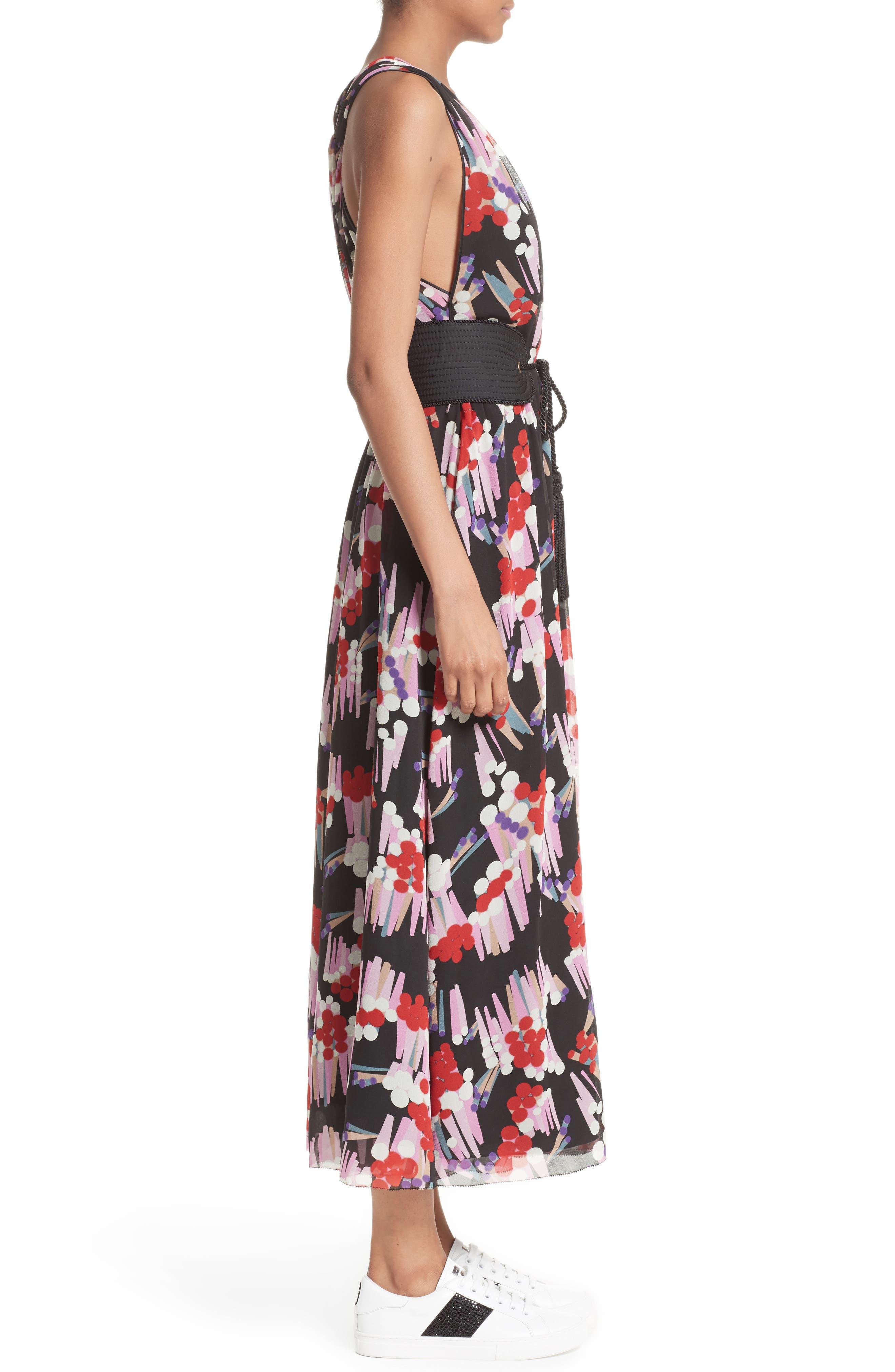 Print Silk Midi Dress,                             Alternate thumbnail 7, color,                             Black Multi
