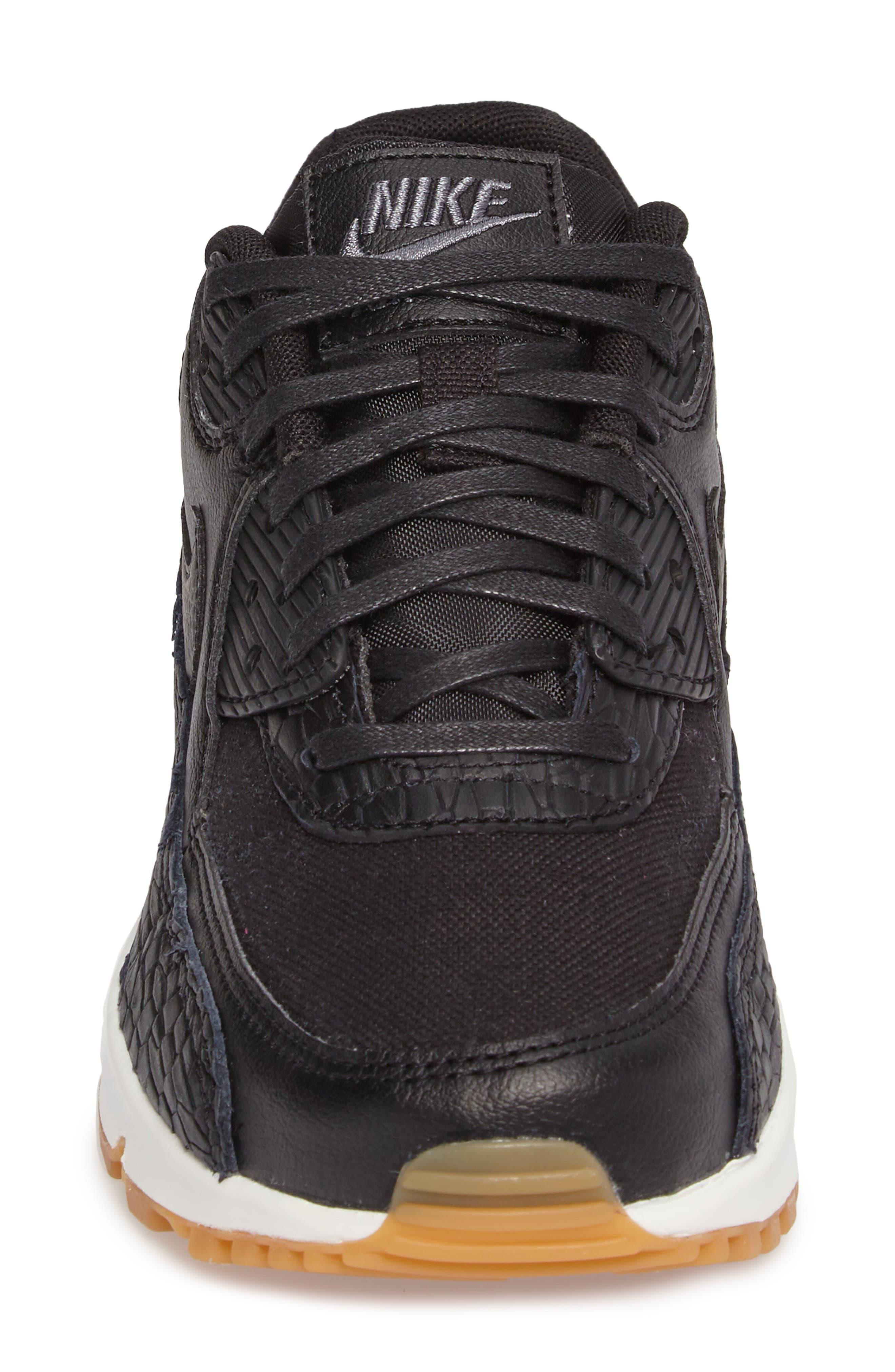 Air Max 90 Premium Leather Sneaker,                             Alternate thumbnail 4, color,                             Black/ Dark Grey/ Ivory