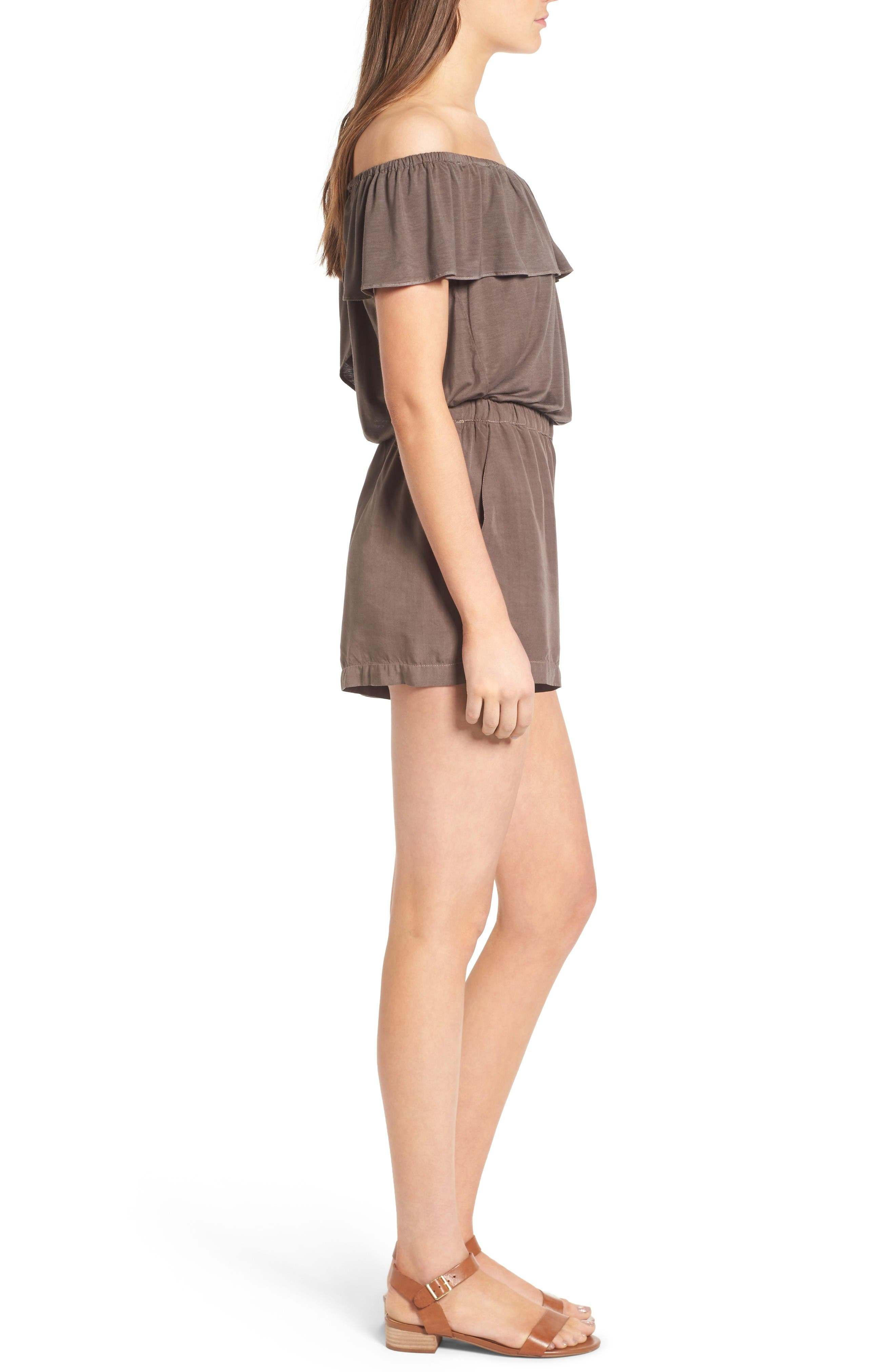 Off the Shoulder Chambray Romper,                             Alternate thumbnail 3, color,                             Military Olive