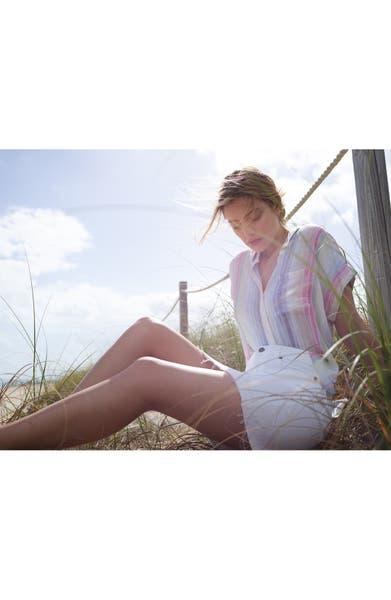 Main Image - PAIGE Elaina Released Hem Denim Skirt (Optic White)