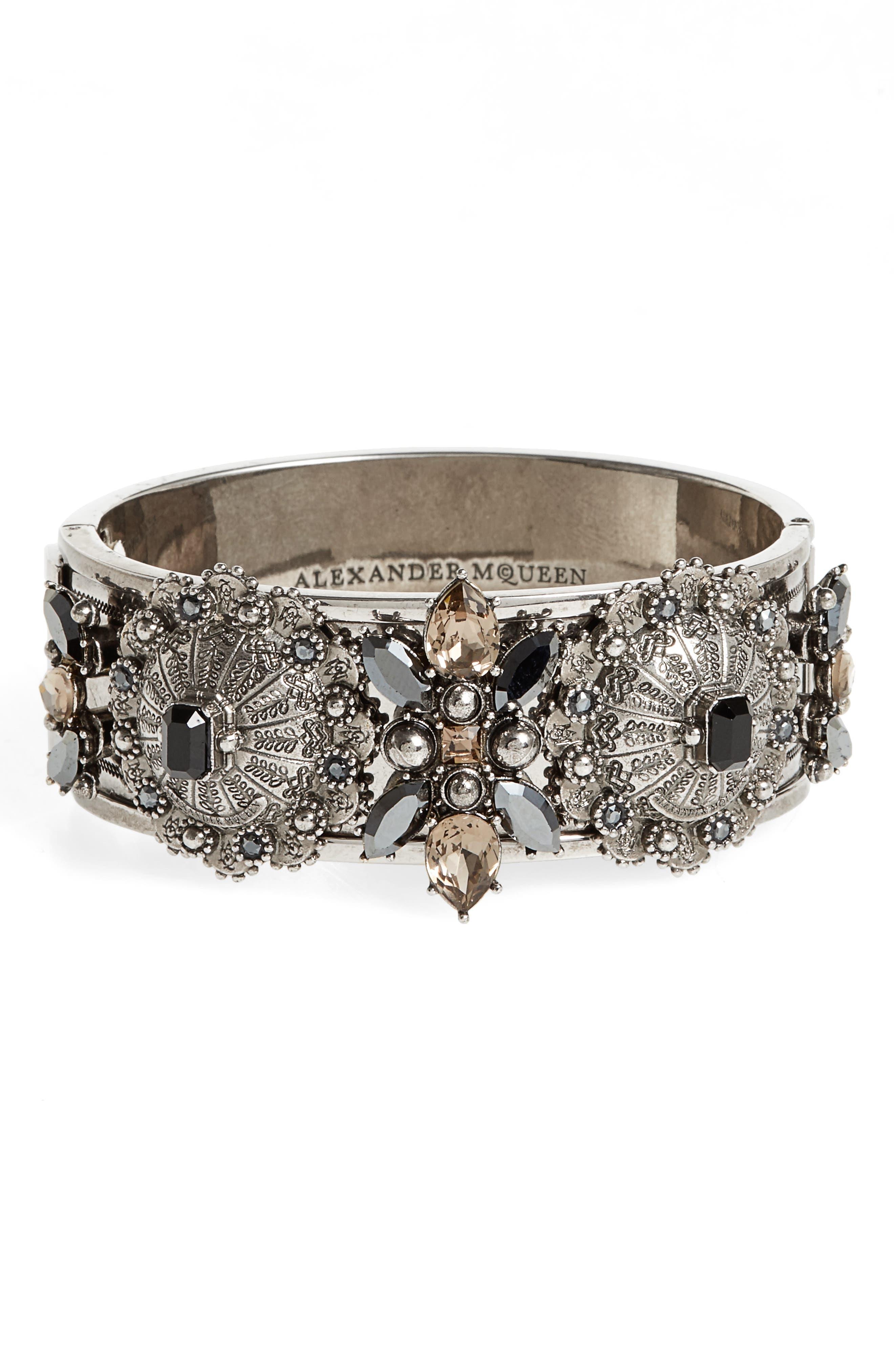 Alexander McQueen Jeweled Hinge Cuff