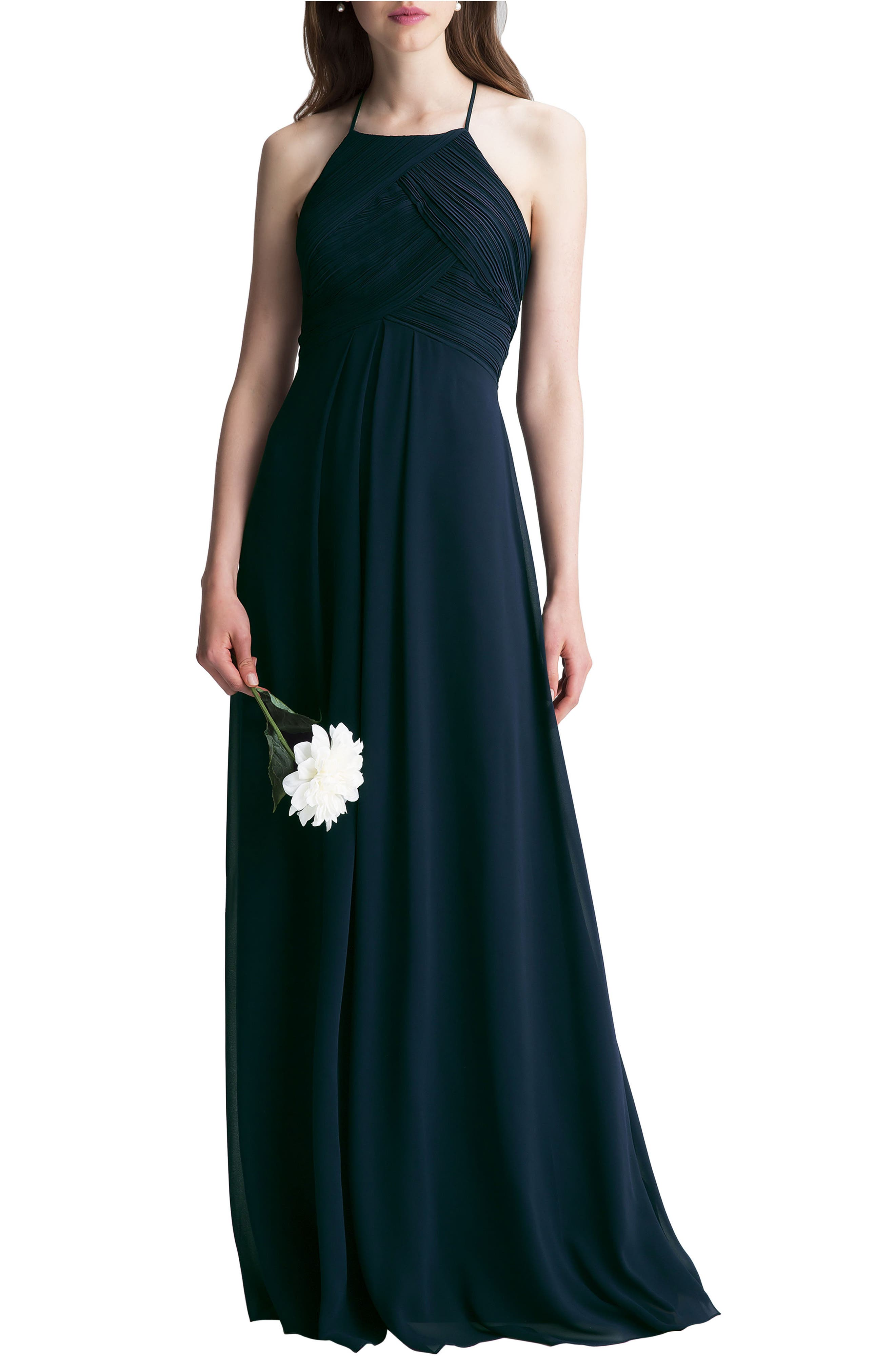 Alternate Image 1 Selected - #Levkoff Halter Chiffon A-Line Gown