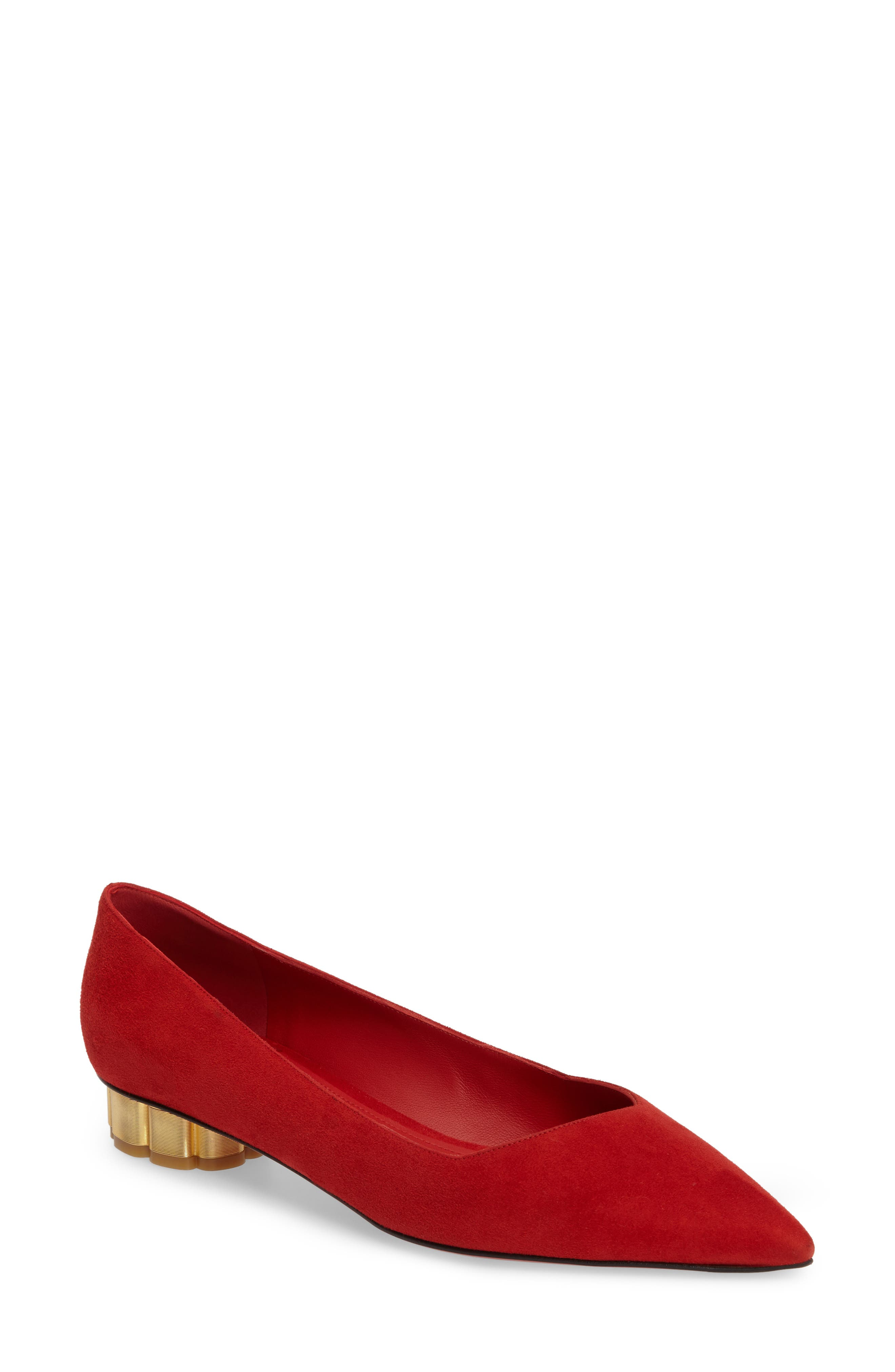 Flower Heel Pump,                             Main thumbnail 1, color,                             Red Suede