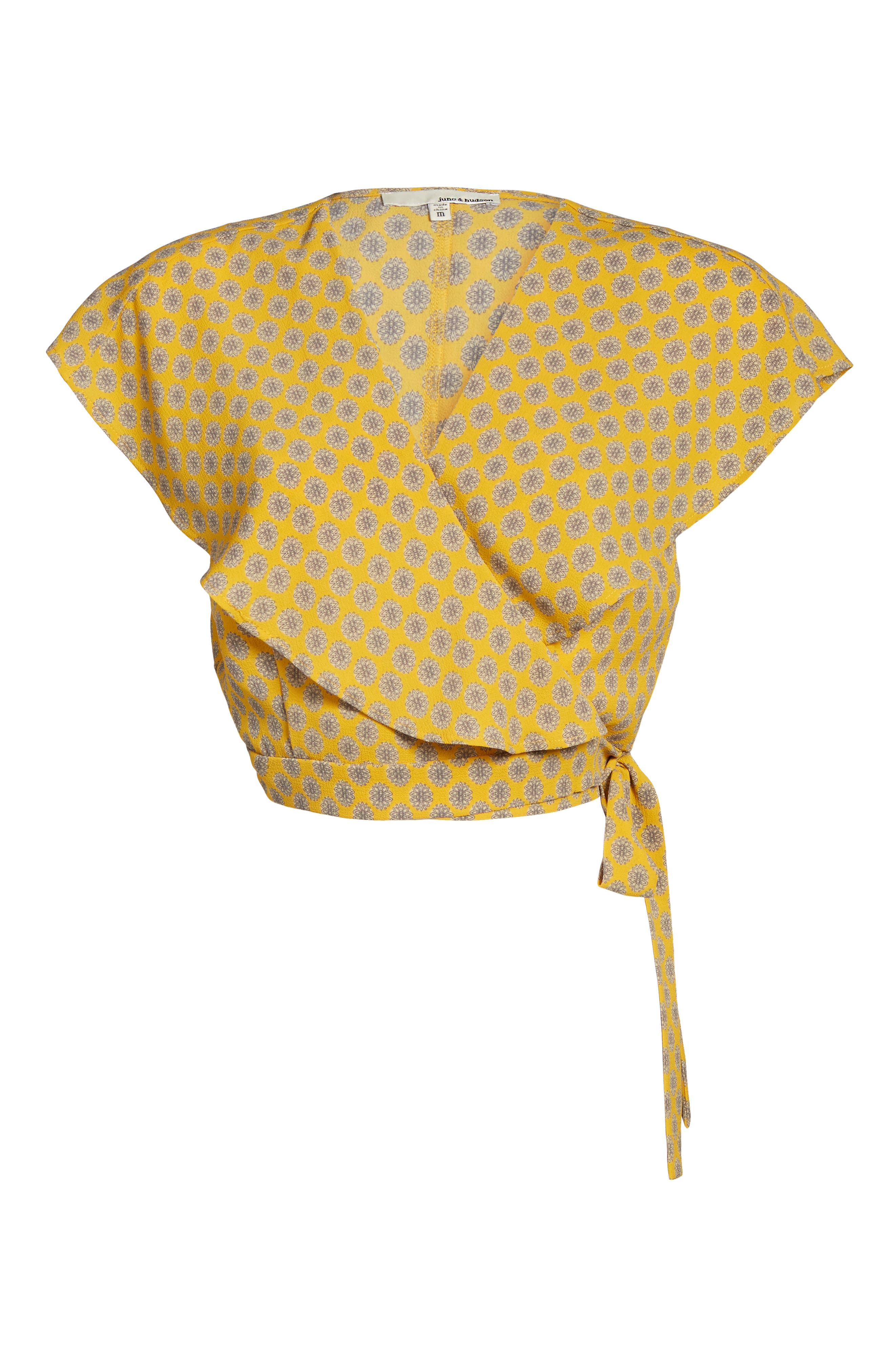 Cape Sleeve Wrap Crop Top,                             Alternate thumbnail 6, color,                             Gold/Grey