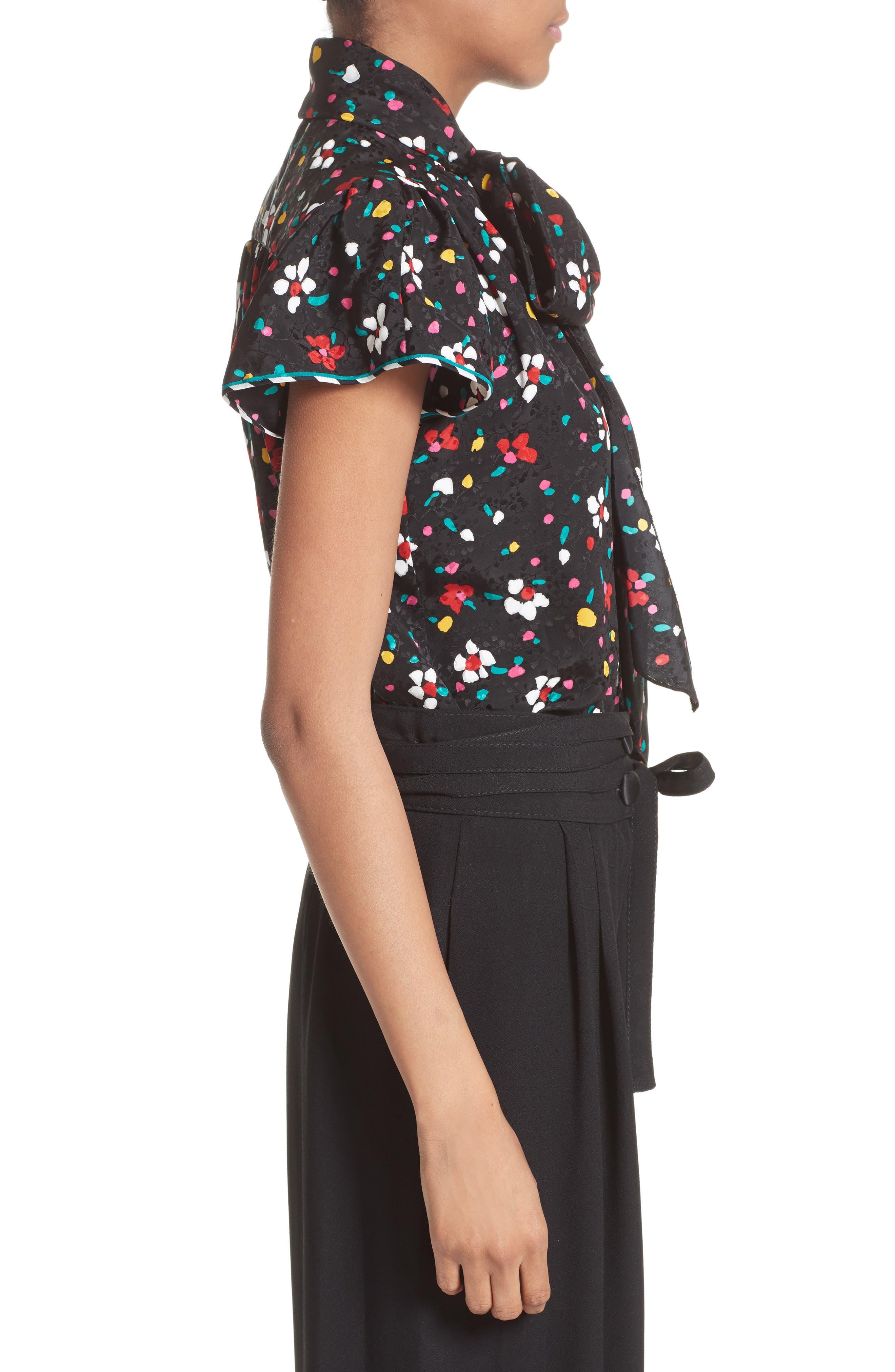 Floral Silk Jacquard Blouse,                             Alternate thumbnail 5, color,                             Black Multi
