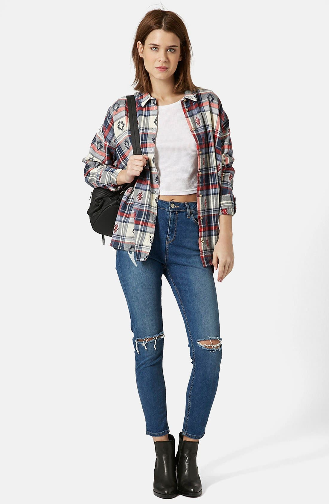 Alternate Image 5  - Topshop Check Embroidered Shirt