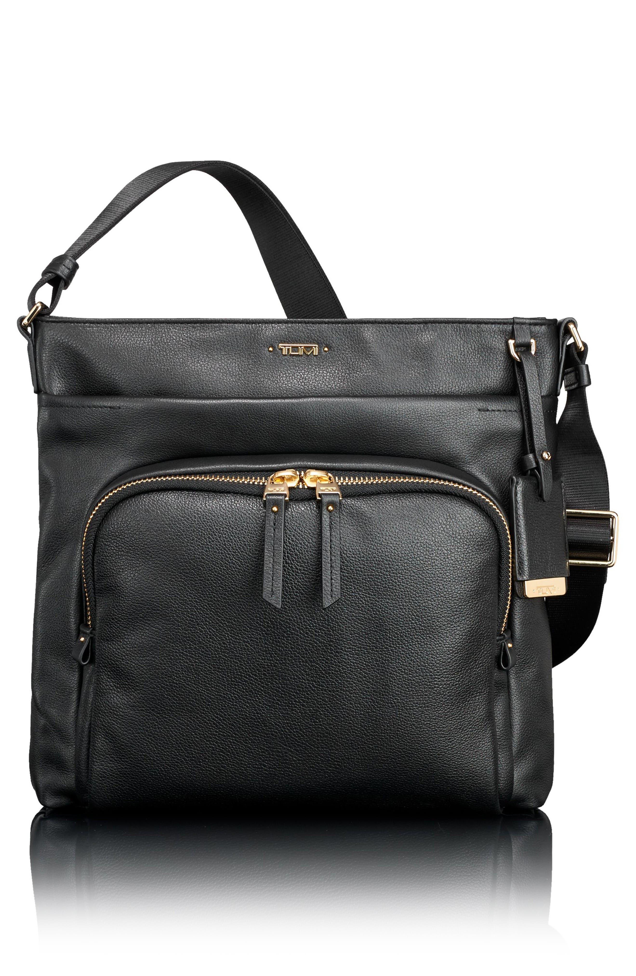 Voyageur - Capri Leather Crossbody Bag,                             Main thumbnail 1, color,                             Black