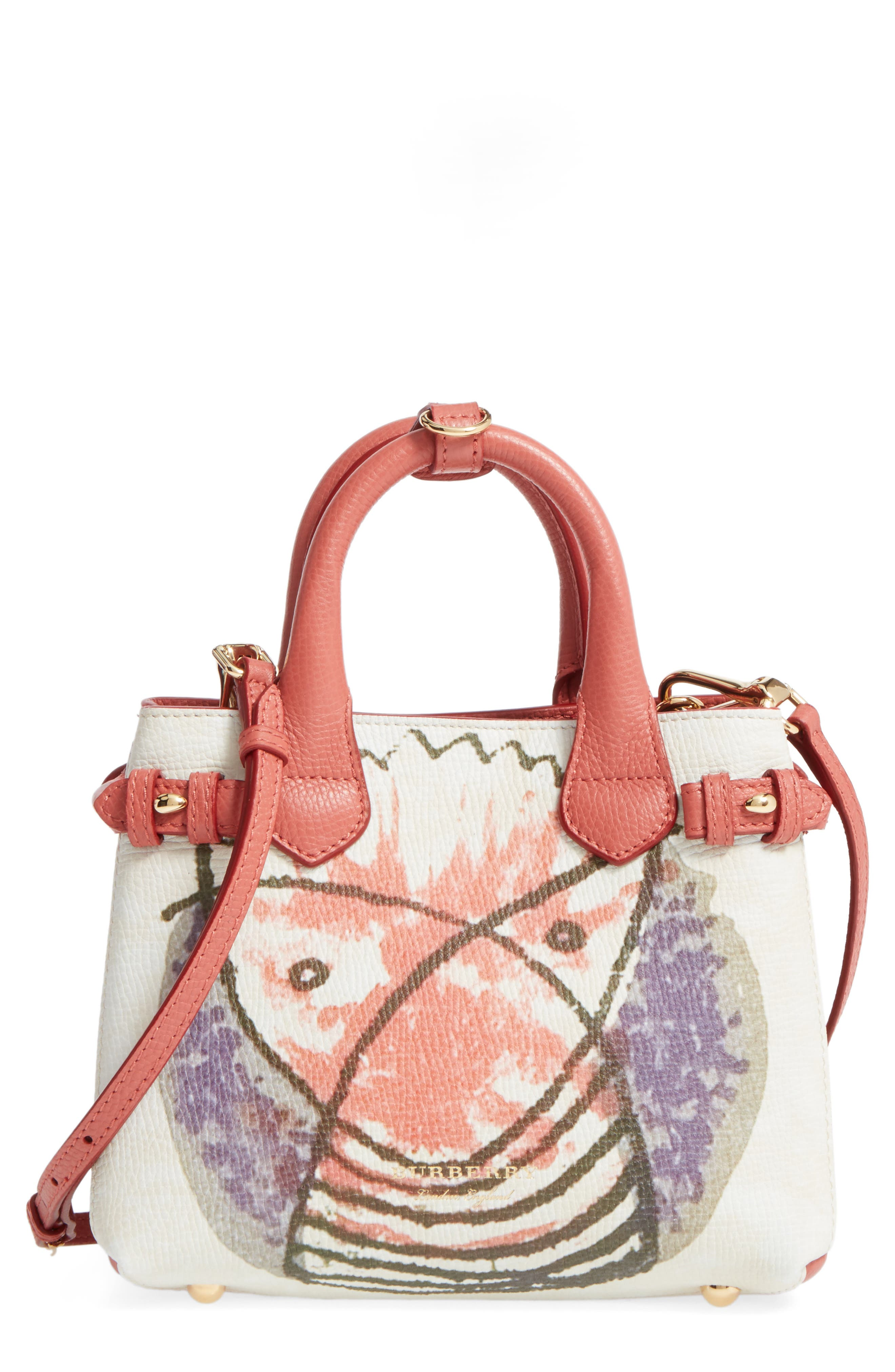 Small Banner - Palace Print Leather Tote,                         Main,                         color, Cinnamon Red