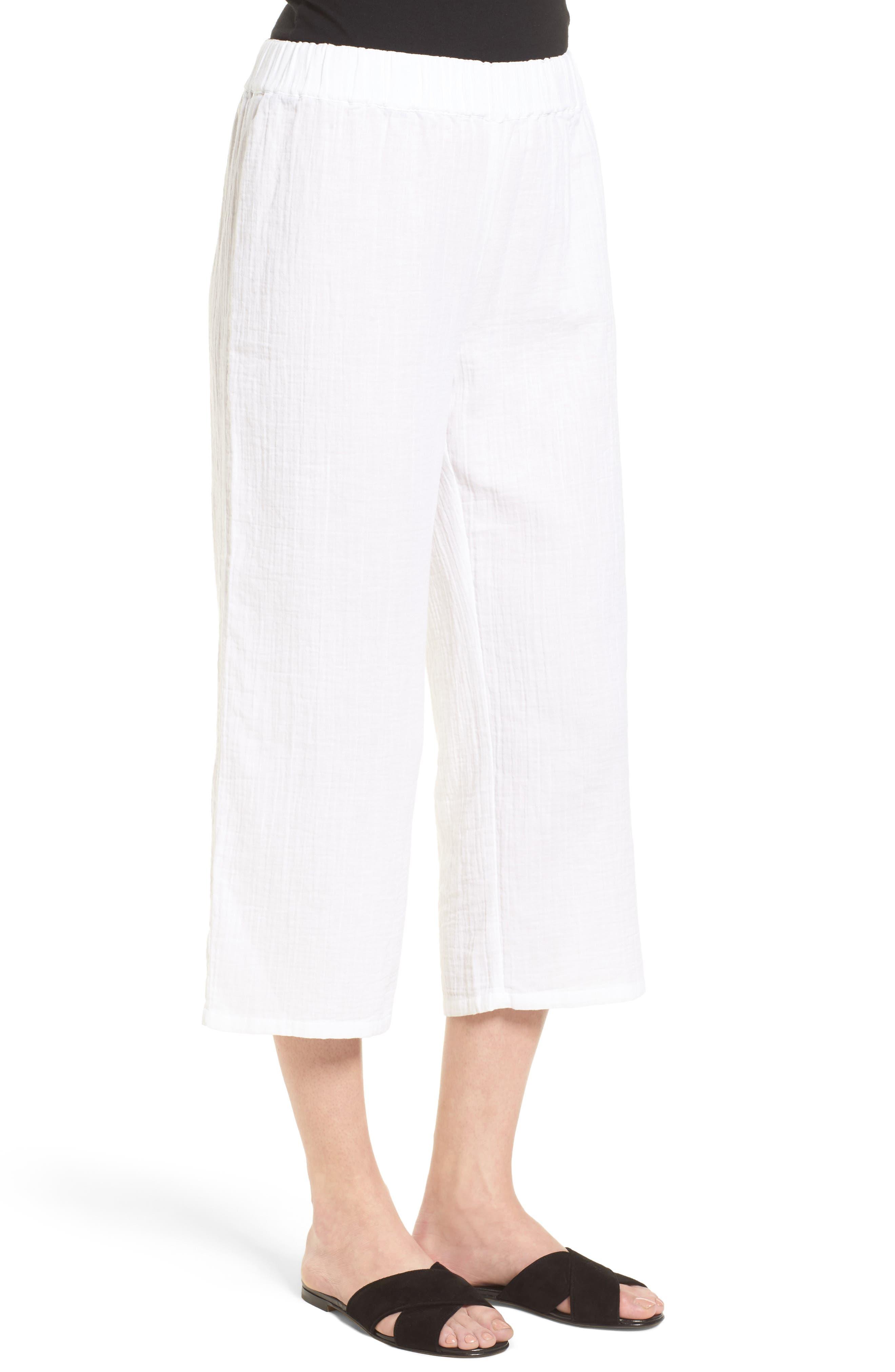 Organic Cotton Crop Pants,                             Alternate thumbnail 3, color,                             White