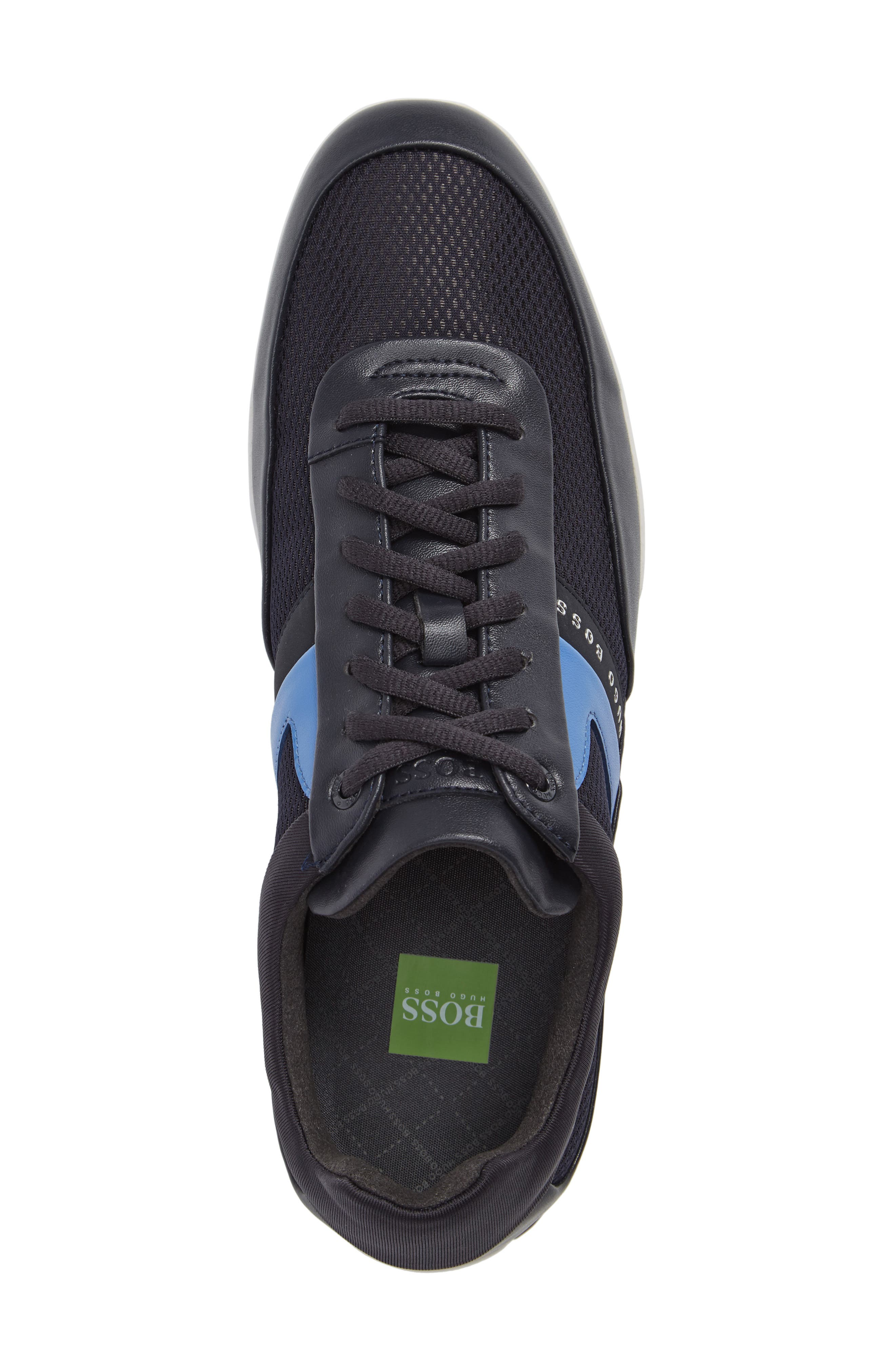 Green Space Mesh Sneaker,                             Alternate thumbnail 5, color,                             Dark Blue Leather
