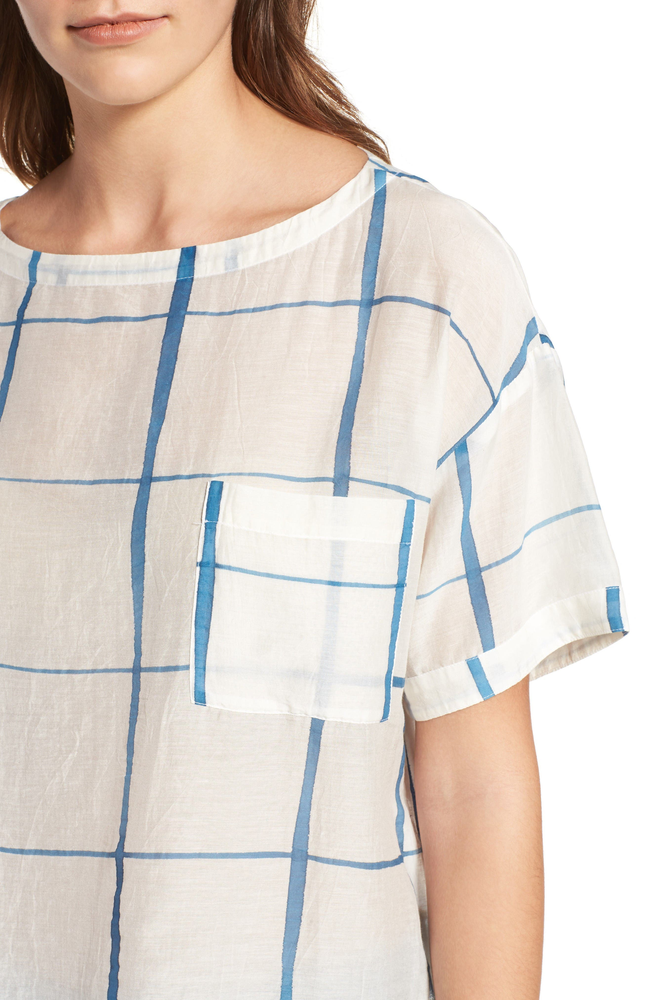 Check Organic Cotton & Silk Top,                             Alternate thumbnail 4, color,                             Chambray