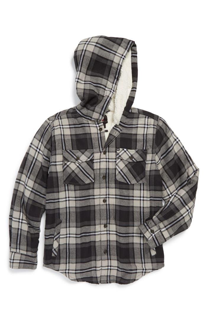Quiksilver Grouper Fleece Lined Flannel Hooded Shirt