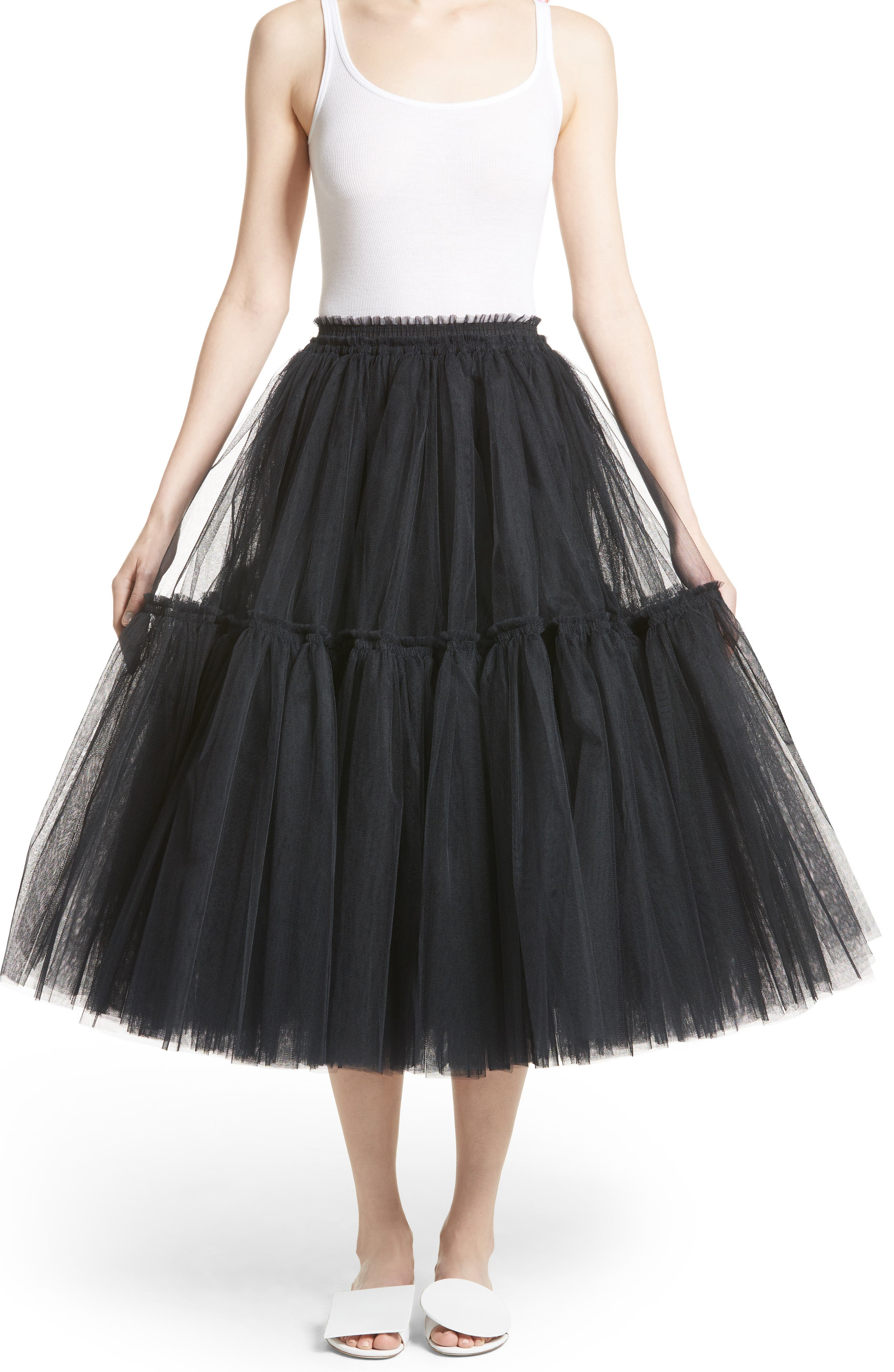 Gathered Tulle Skirt,                             Main thumbnail 1, color,                             Black