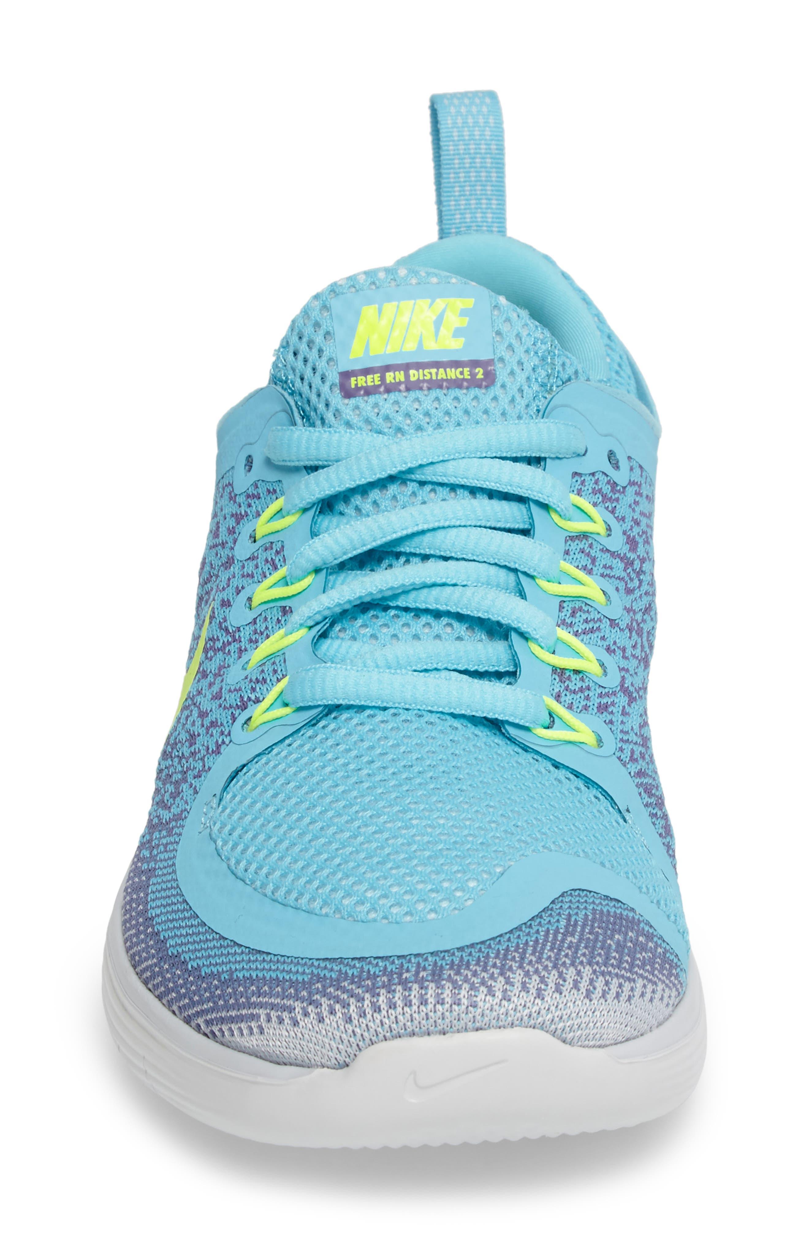 Free Run Distance 2 Running Shoe,                             Alternate thumbnail 4, color,                             Polarized Blue/ Volt/ Purple