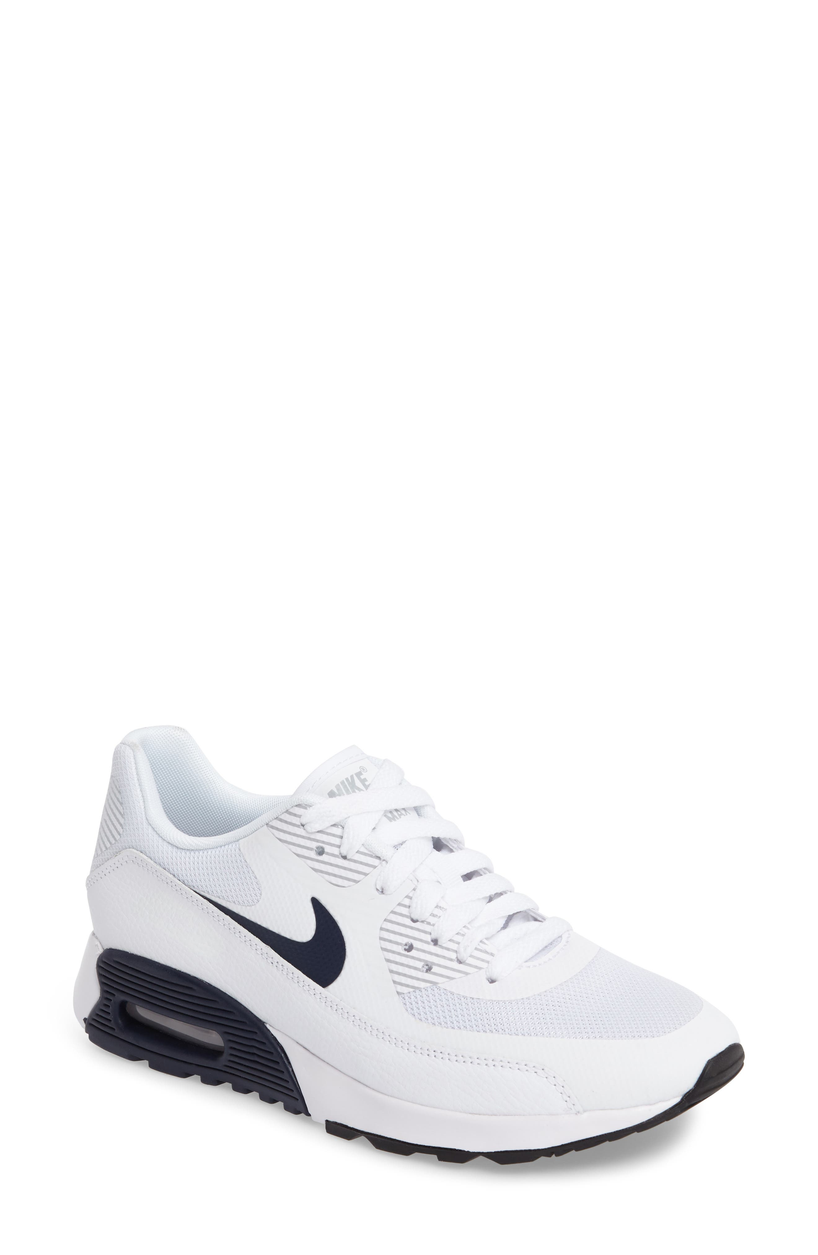 Air Max 90 Ultra 2.0 Sneaker,                         Main,                         color, White/ Navy/ Wolf Grey/ Black