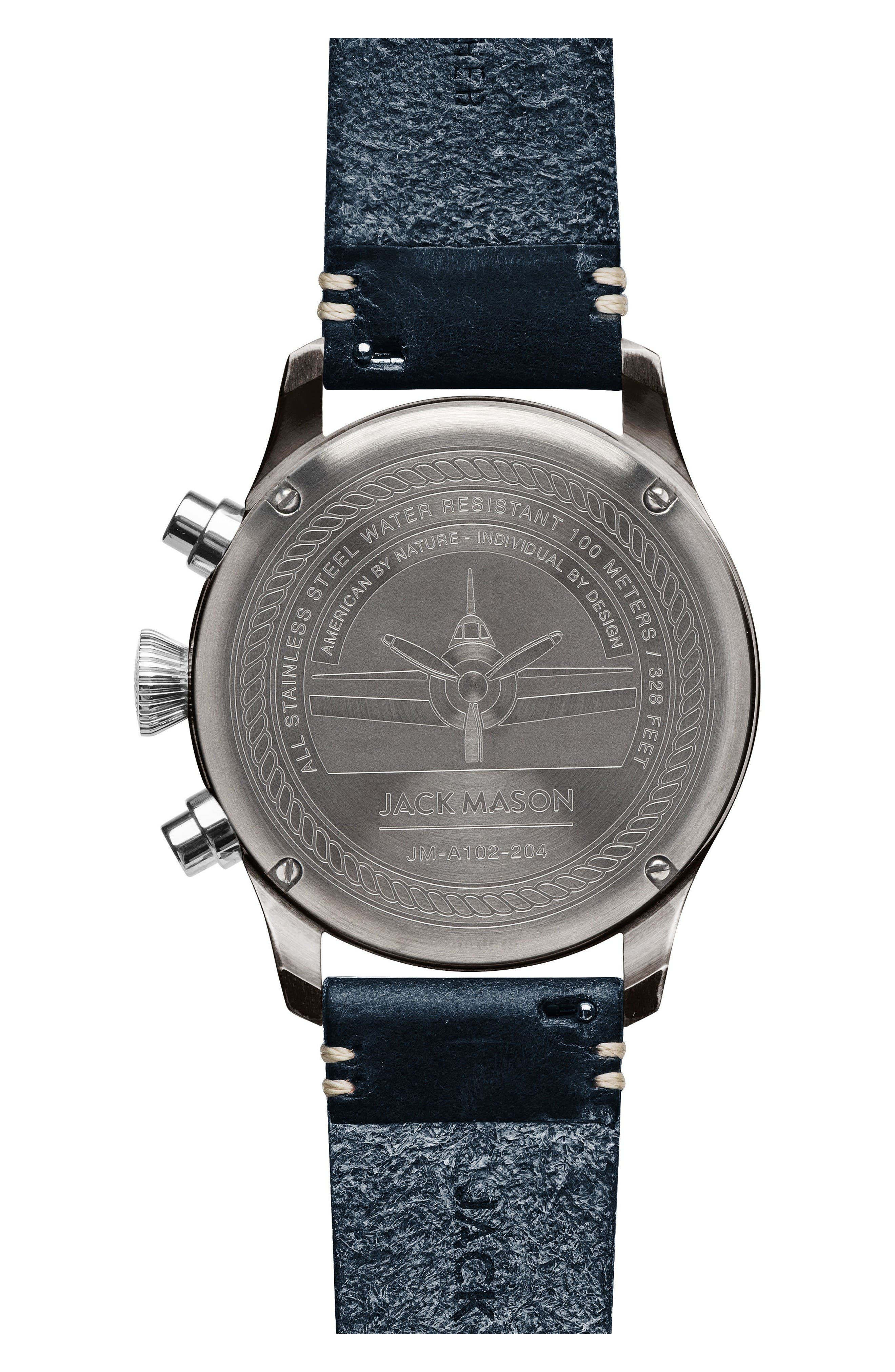 Aviation Chronograph Leather Strap Watch, 42mm,                             Alternate thumbnail 2, color,                             Navy/ Navy