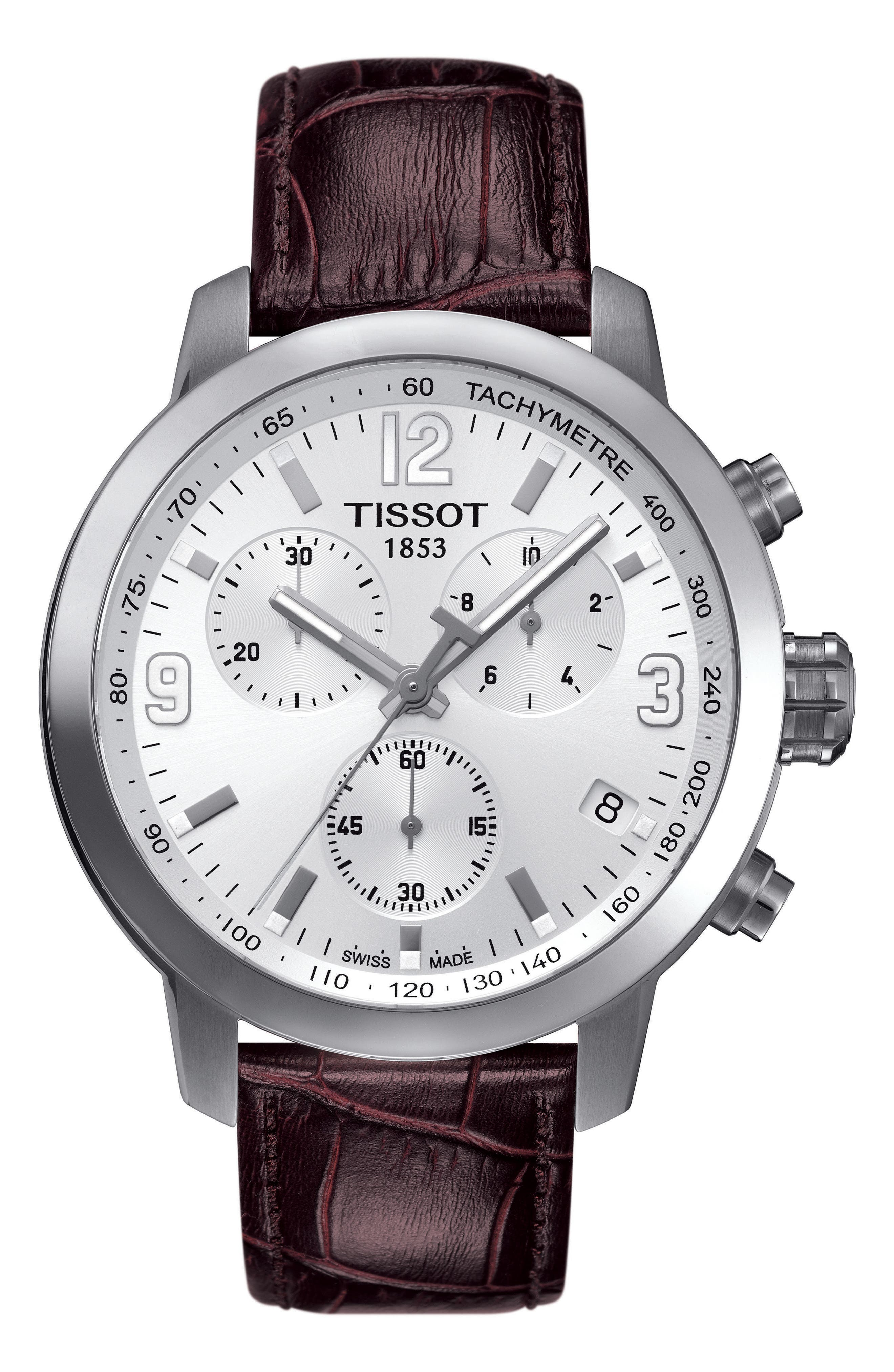 PRC200 Chronograph Leather Strap Watch, 42mm,                         Main,                         color, Brown/ White/ Silver