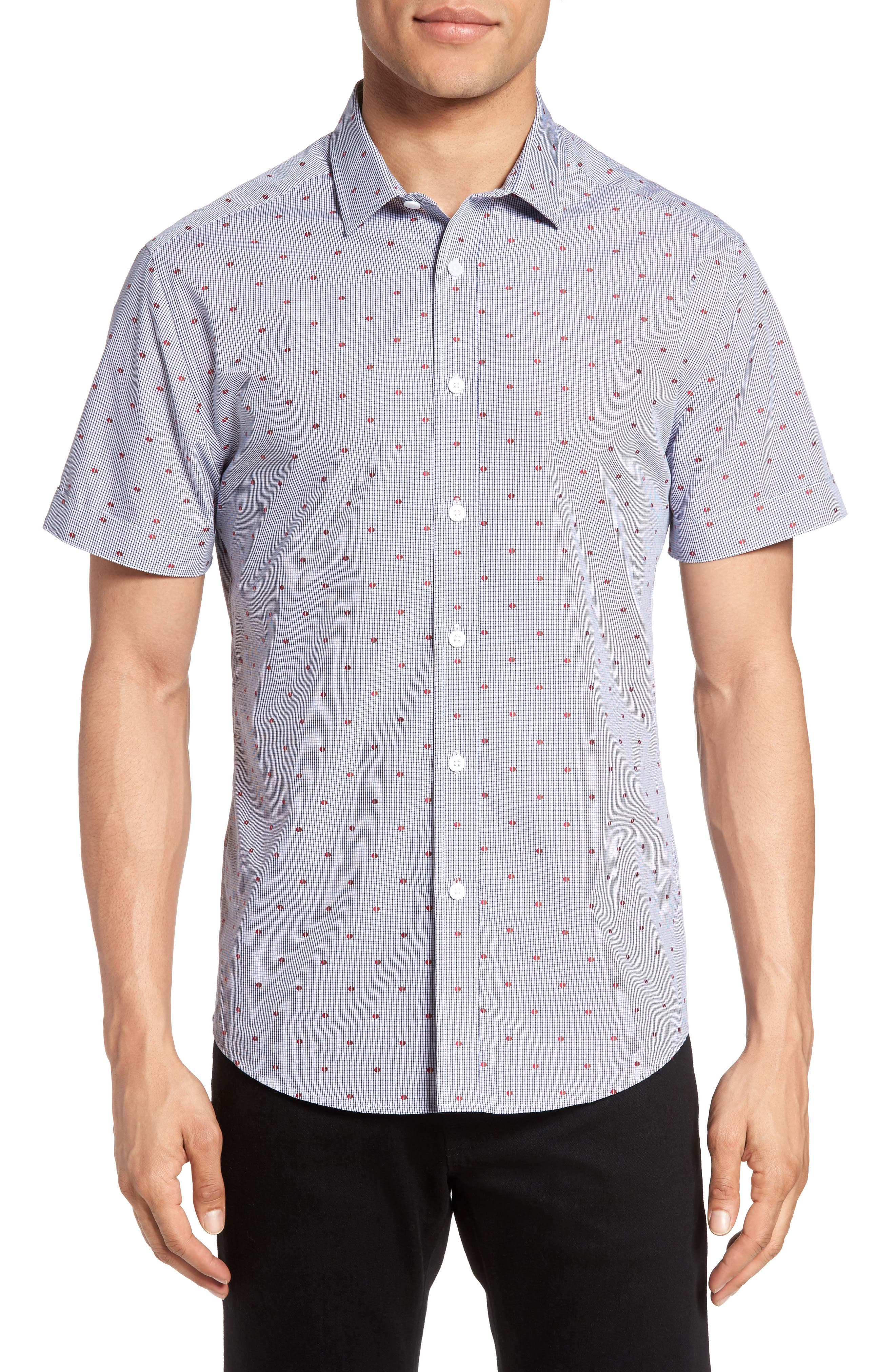 Short Sleeve Sport Shirt,                         Main,                         color, Red/ Brown Check Red Dot Dobby