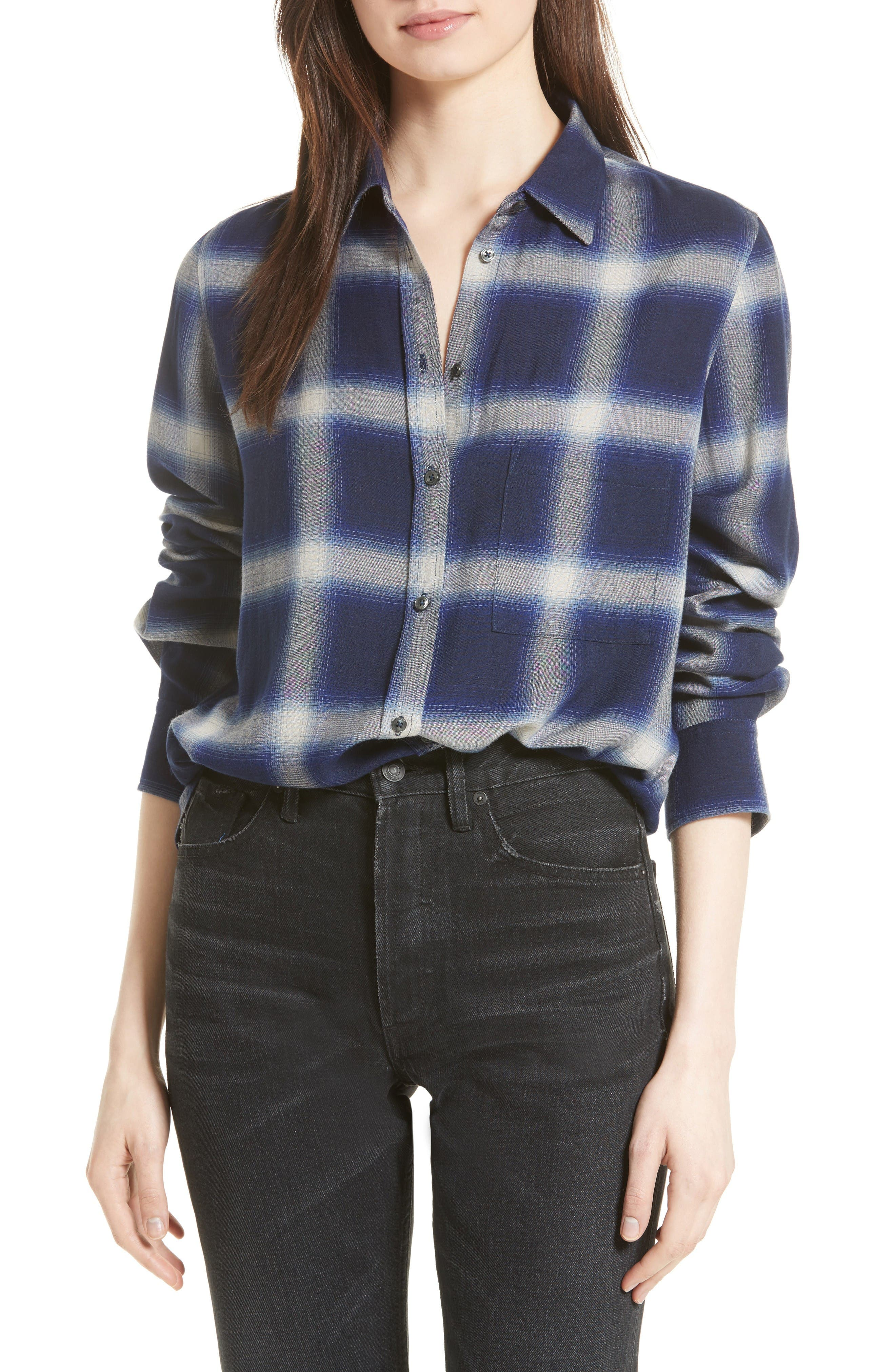 Plaid Utility Shirt,                         Main,                         color, Blue