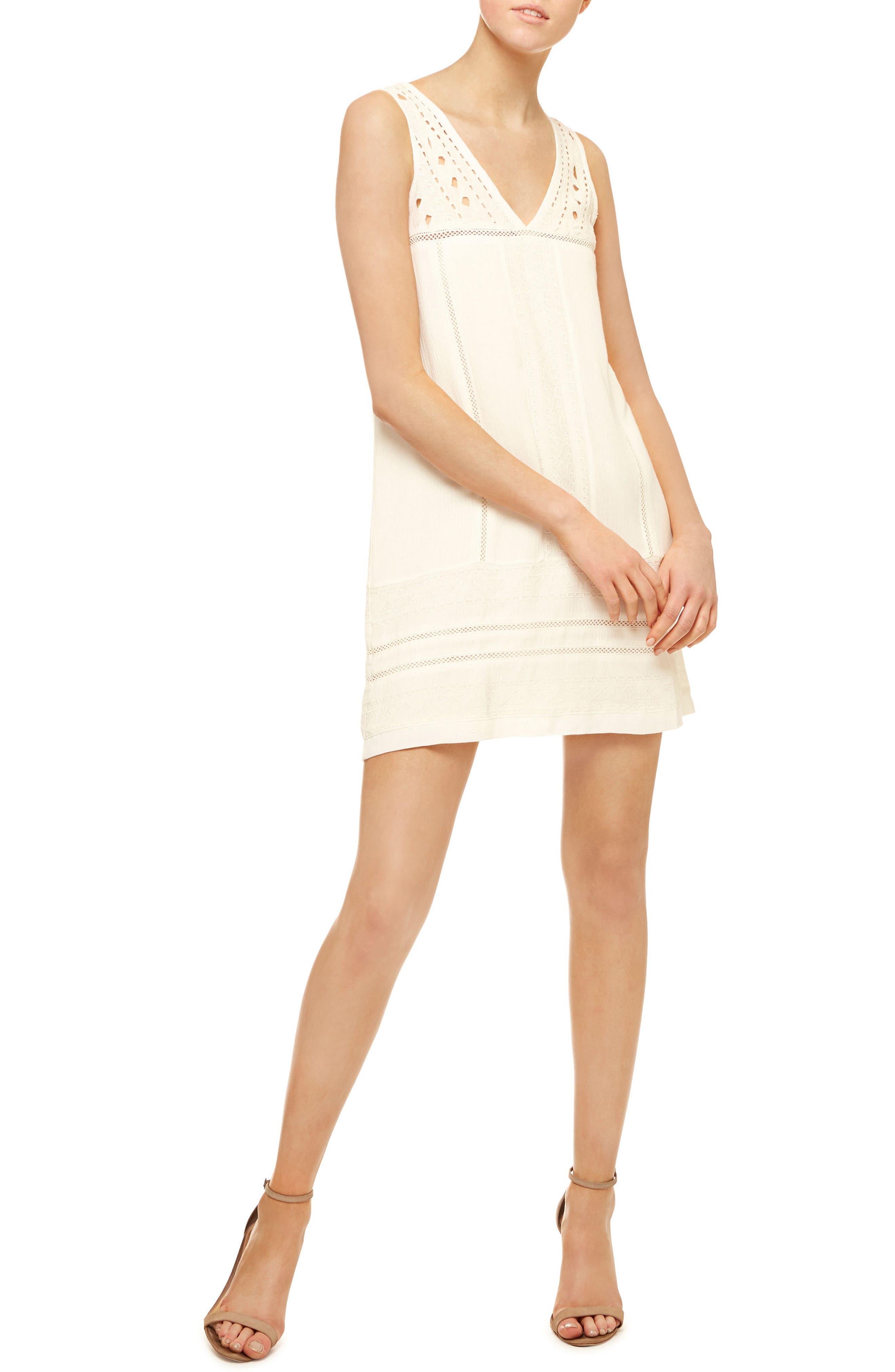 Scarlett Eyelet Embroidered A-Line Dress,                         Main,                         color, White
