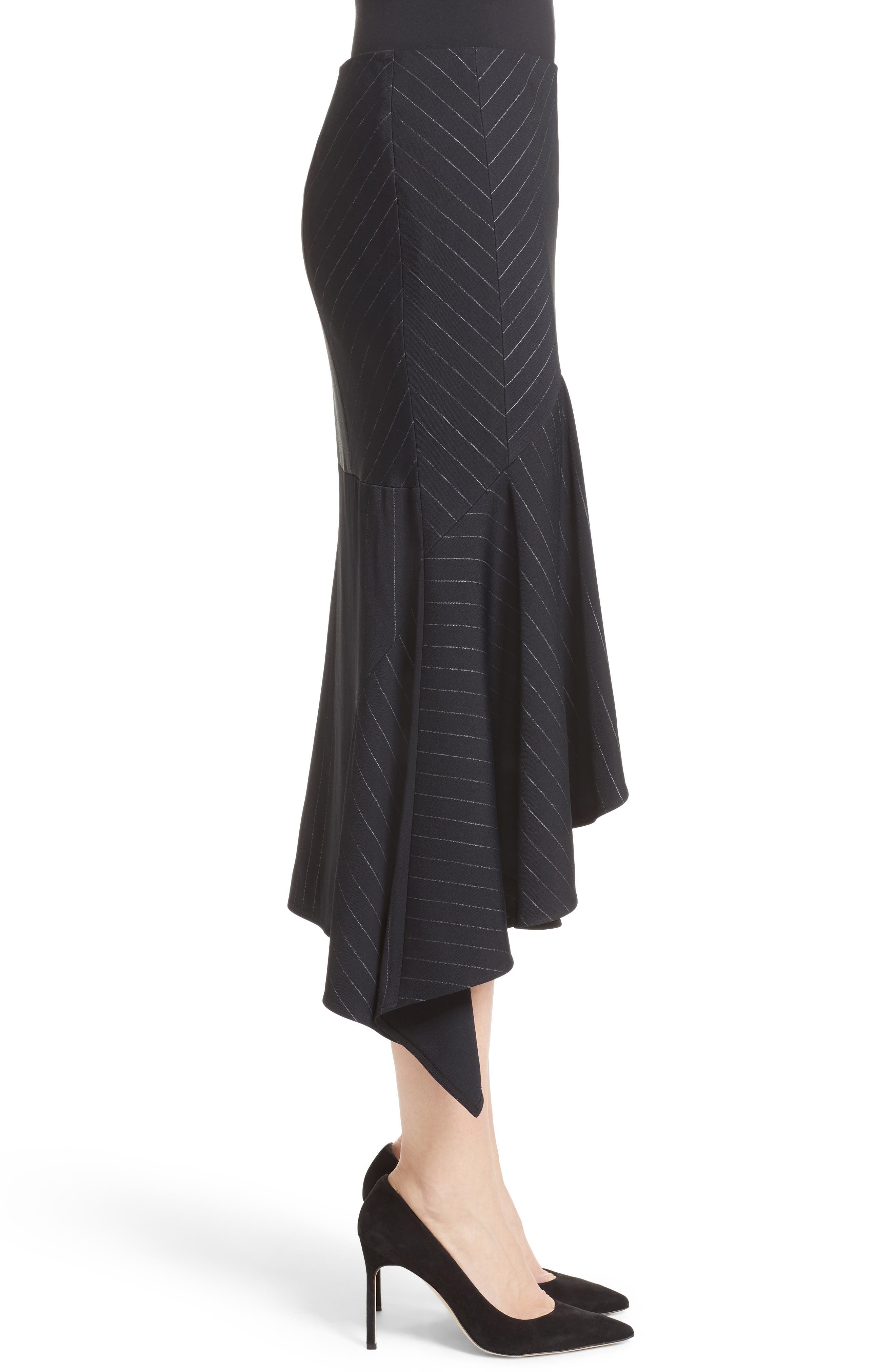 Pinstripe Stretch Asymmetrical Skirt,                             Alternate thumbnail 6, color,                             Black/ Chalk