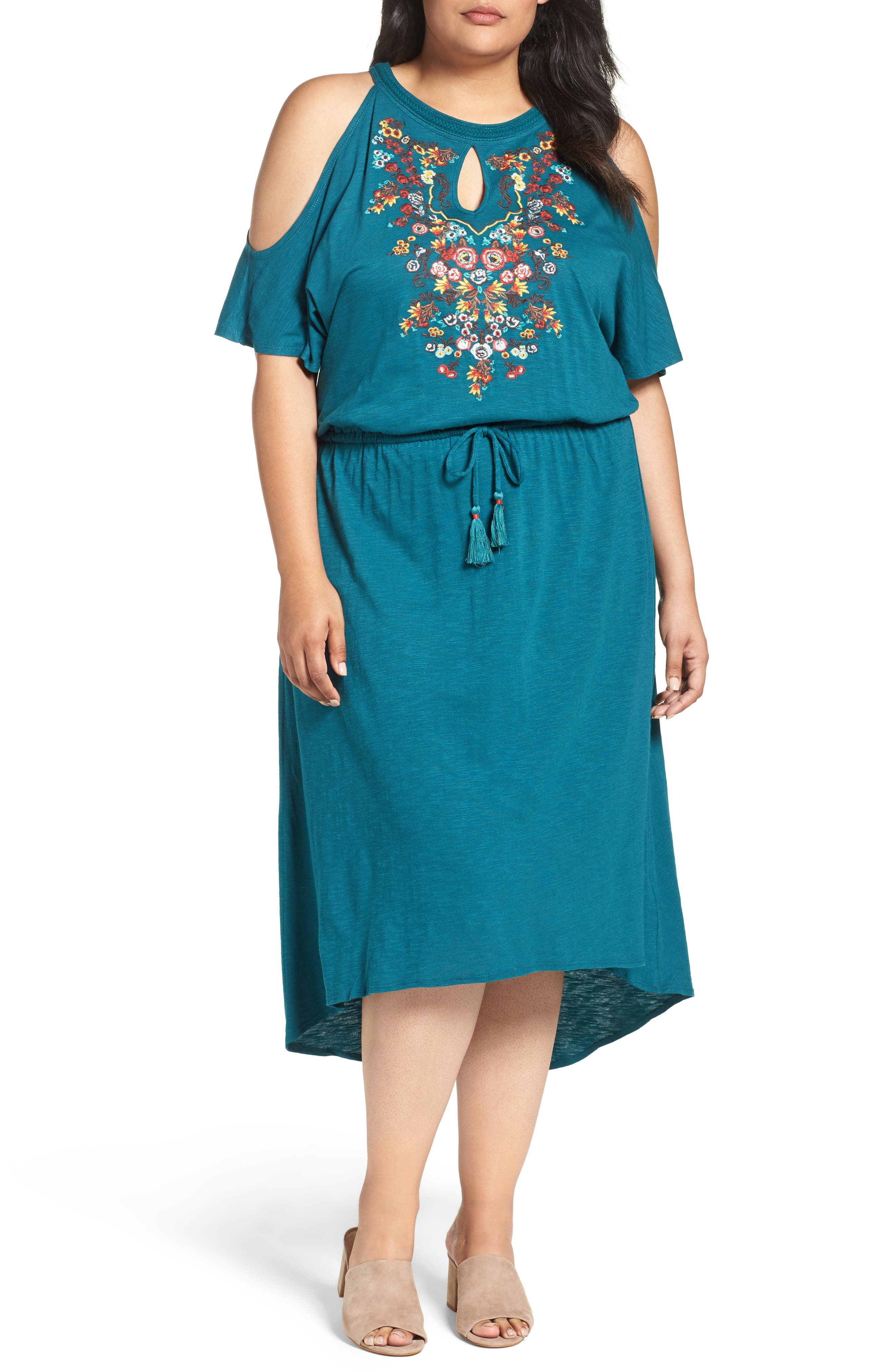 Embroidered Blouson Cold Shoulder Dress,                         Main,                         color, Lake Green