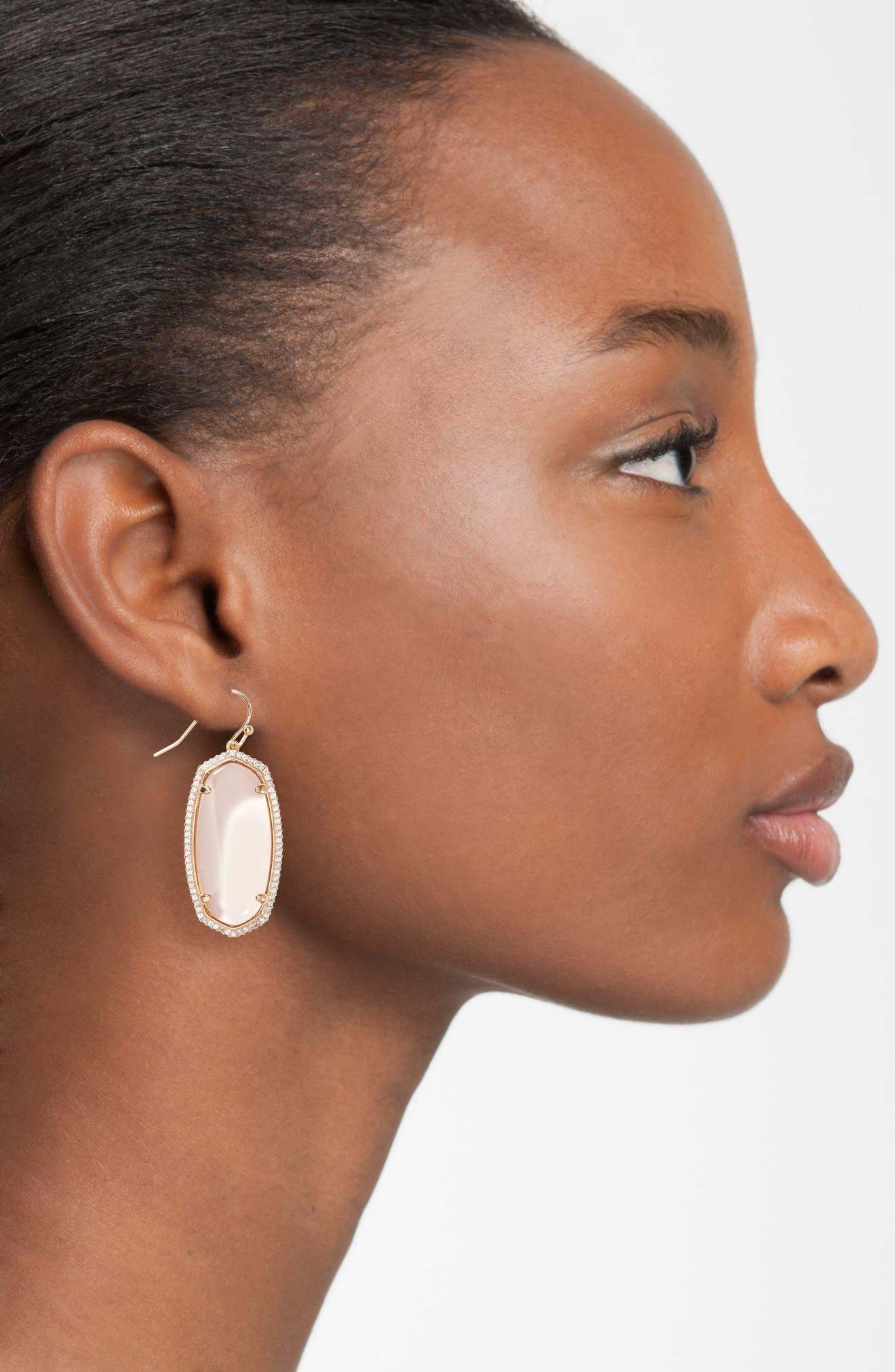 Elle Pavé Drop Earrings,                             Alternate thumbnail 2, color,                             Peach Clear Glass/ Rose Gold