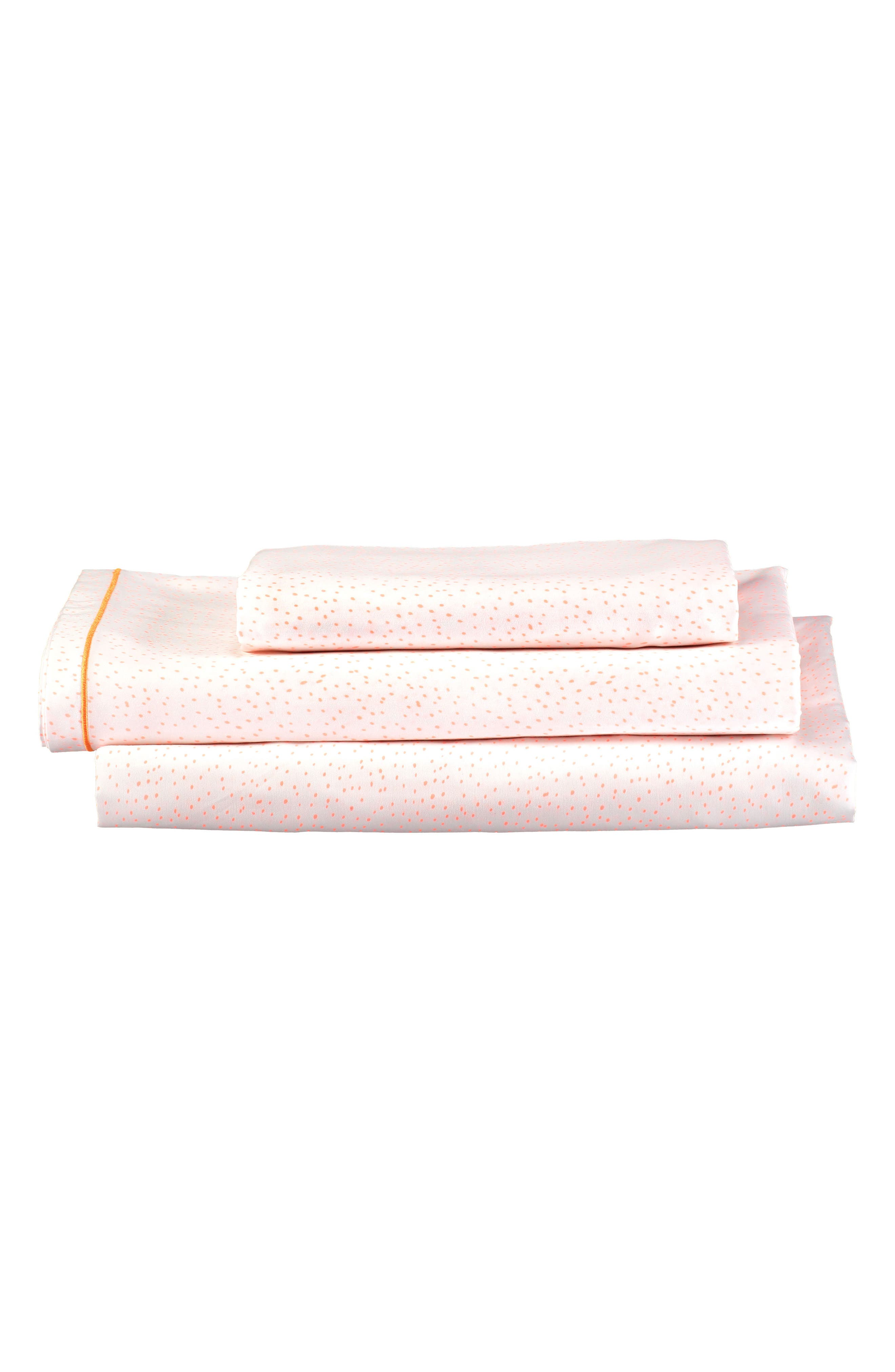 Twin Sheet & Pillowcase Set,                             Main thumbnail 1, color,                             Coral
