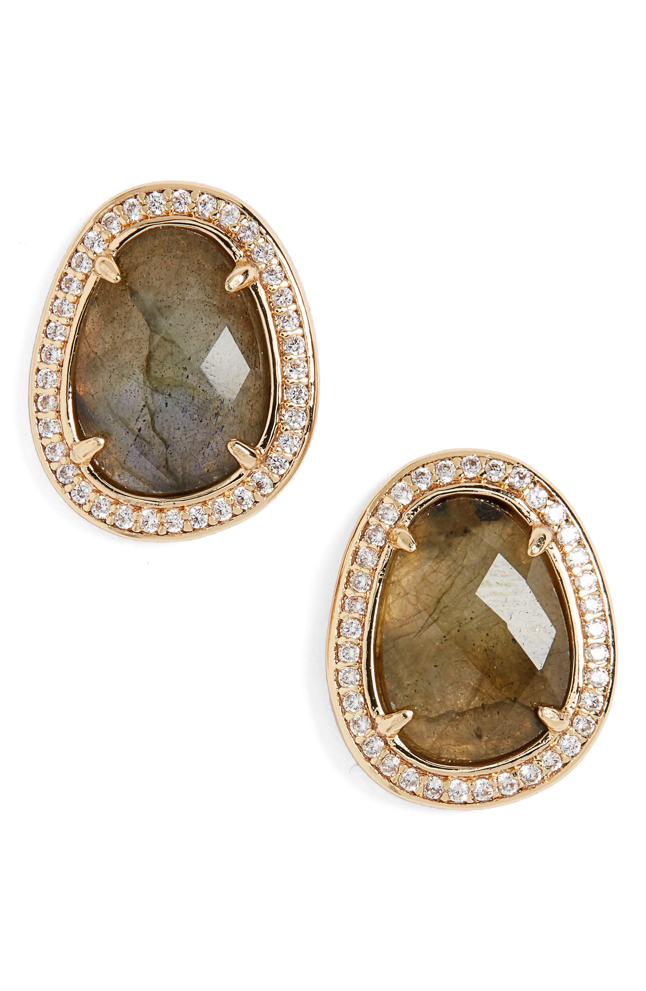 Semiprecious Stone Stud Earrings,                         Main,                         color, Labradorite/ Gold