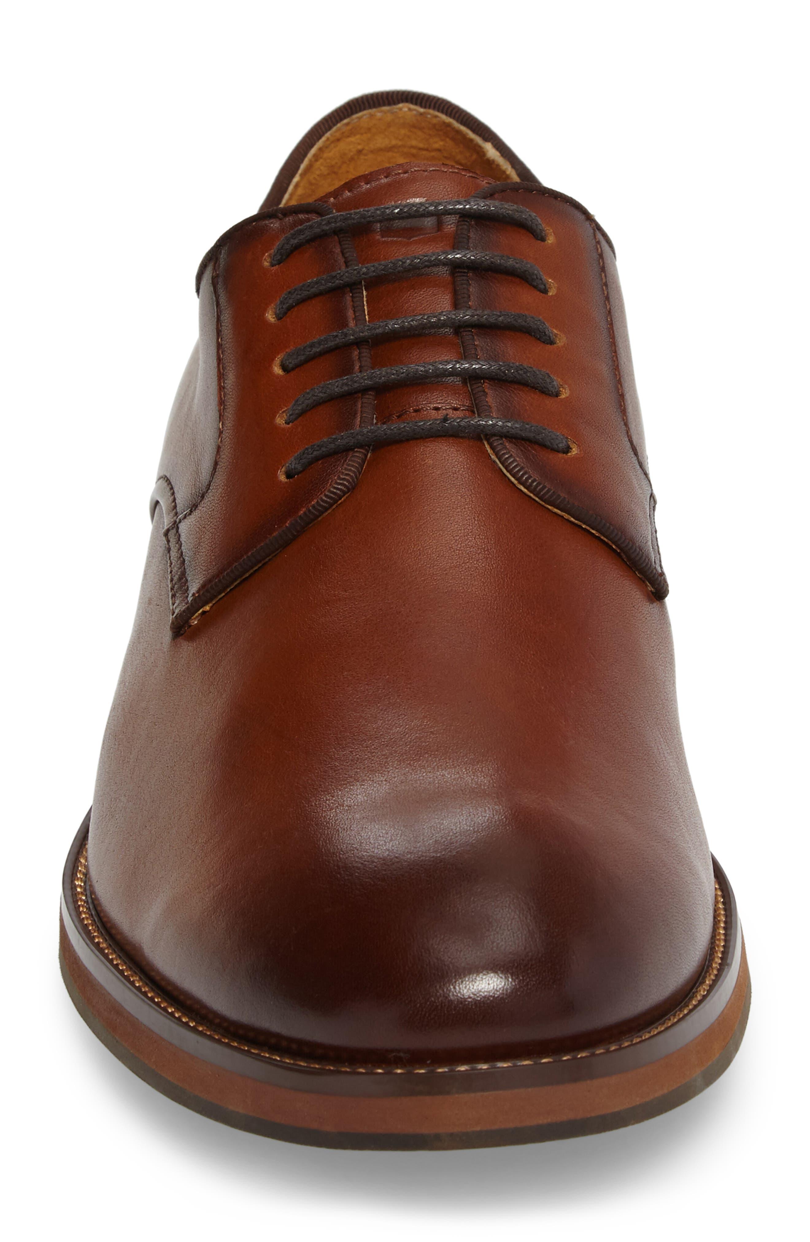 Blaze Plain Toe Derby,                             Alternate thumbnail 4, color,                             Cognac Leather