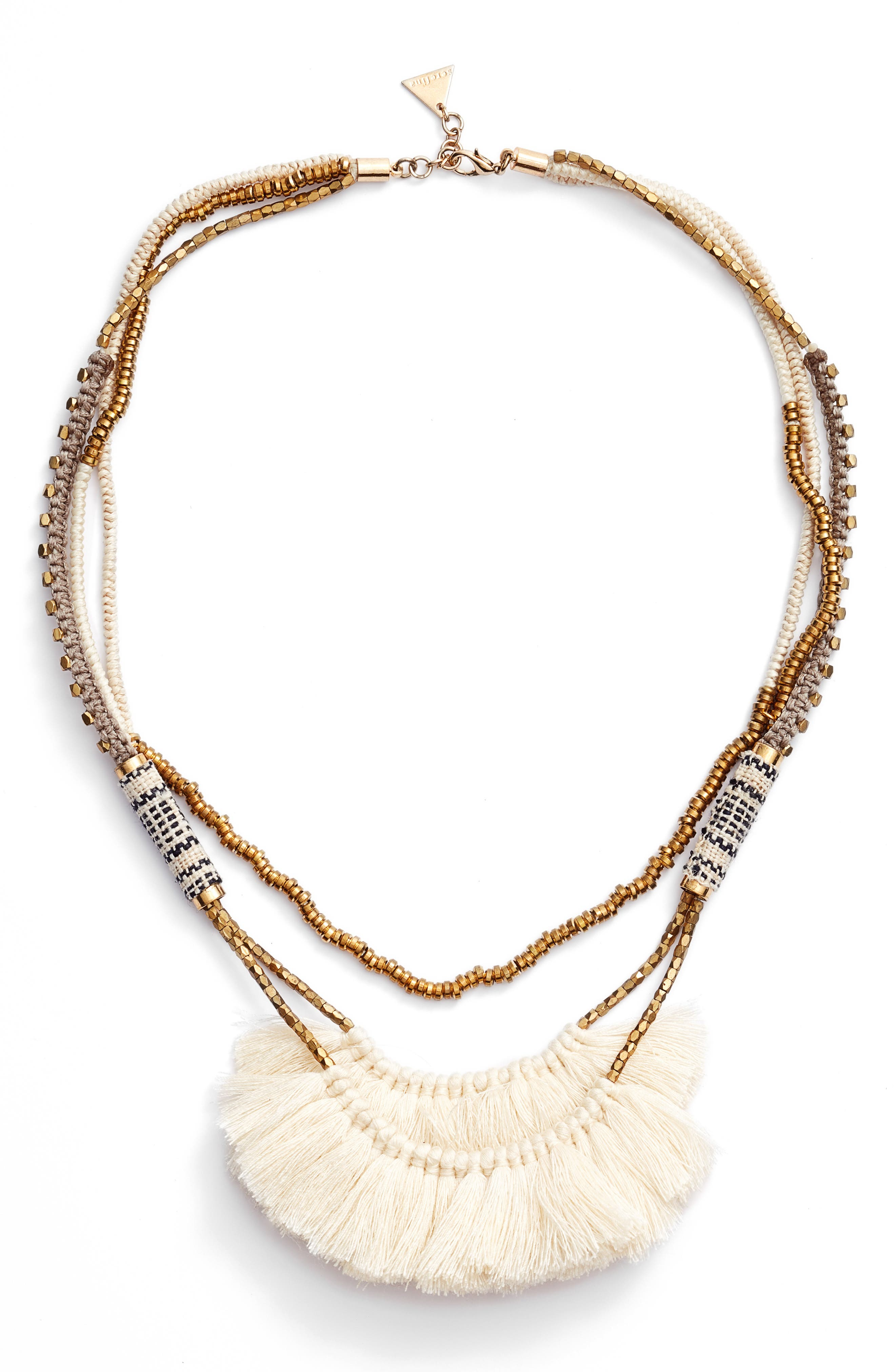 Tassel Statement Necklace,                         Main,                         color, White