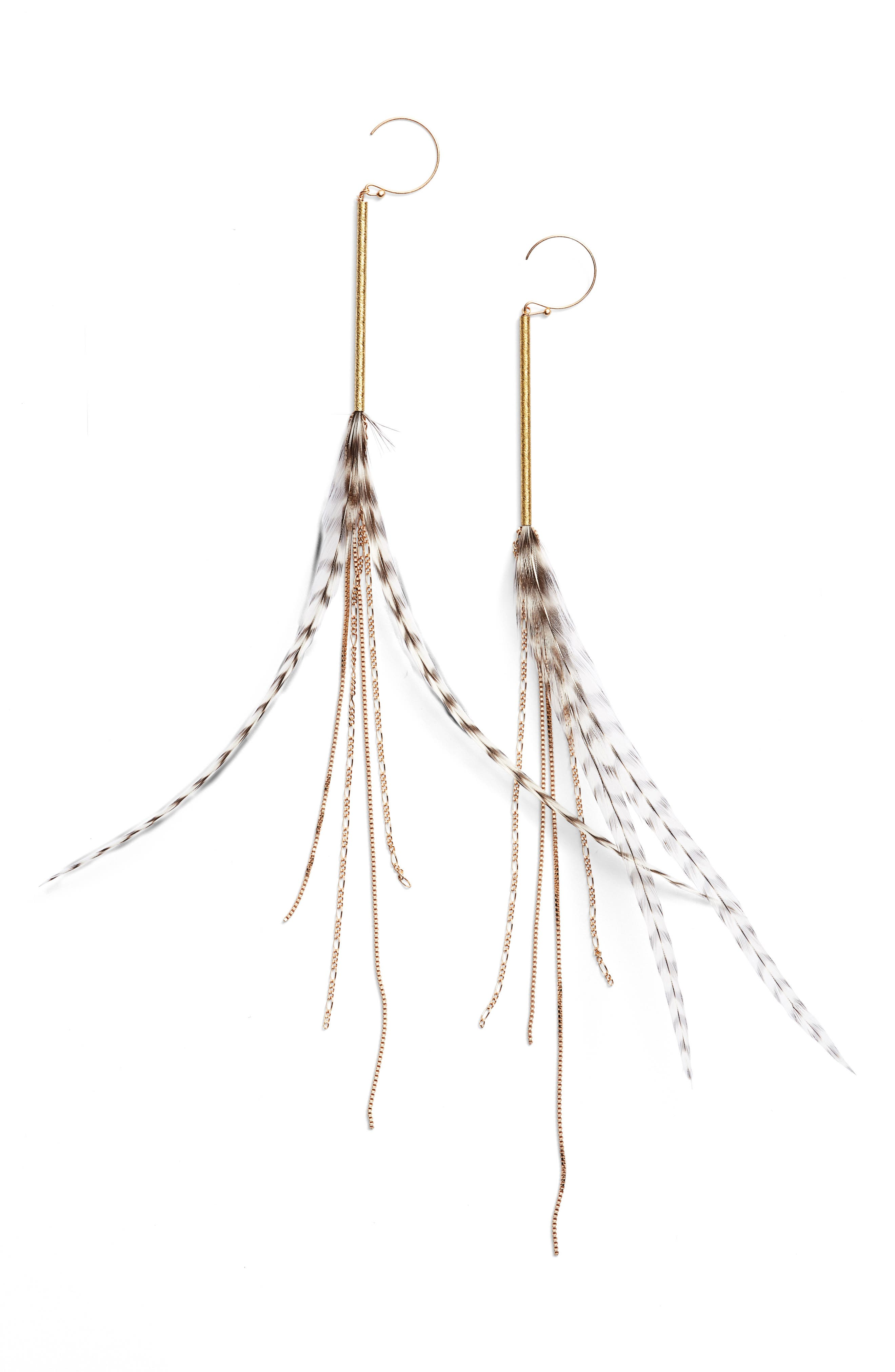 Stripe Feather Drop Earrings,                             Main thumbnail 1, color,                             Natural/ Gold